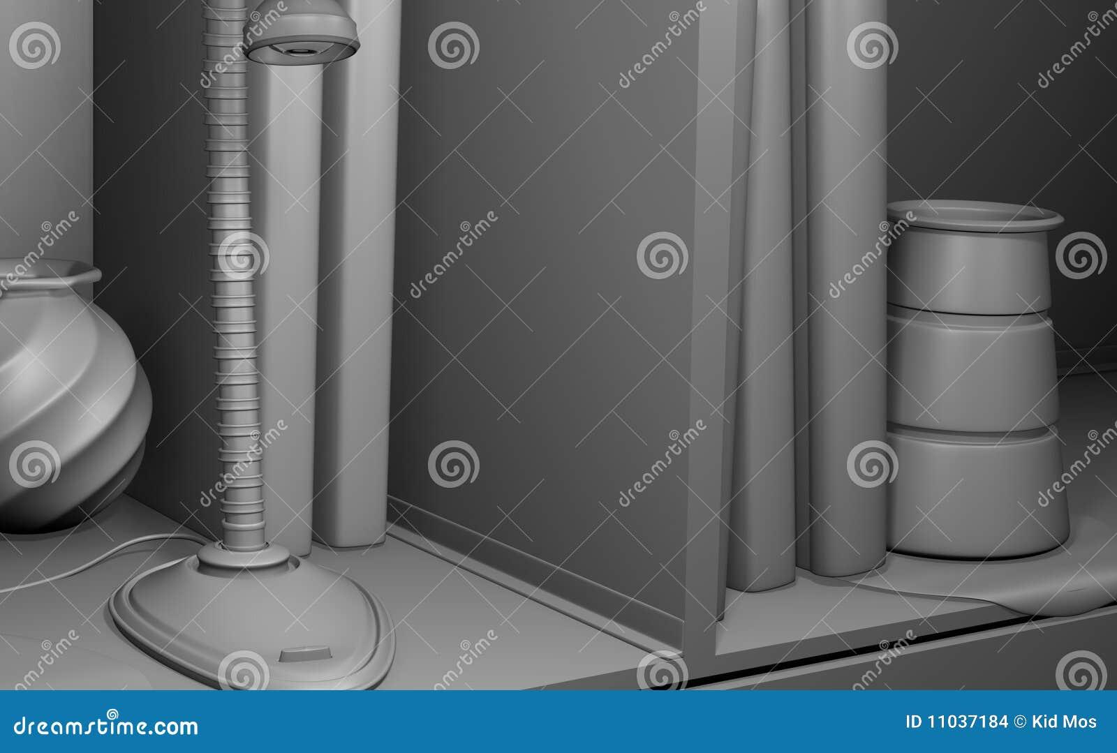 Simple Black And White Shelf Stock Illustration