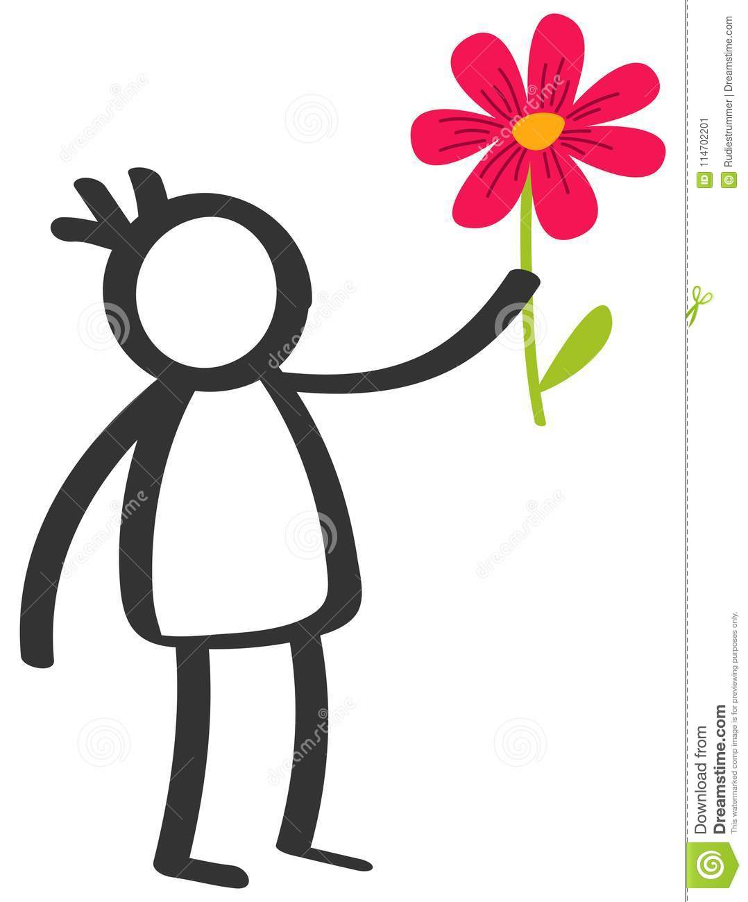 Simple Black And White Stick Figure Boy Giving Flower Love Mother