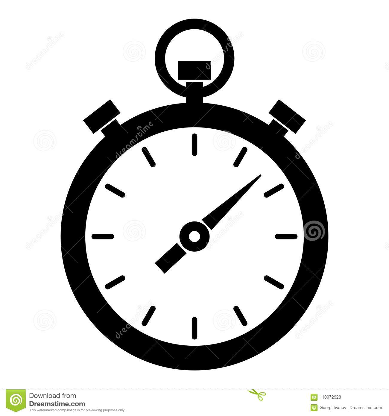 Simple, Black And White Timer/stopwatch Icon  Isolated On White