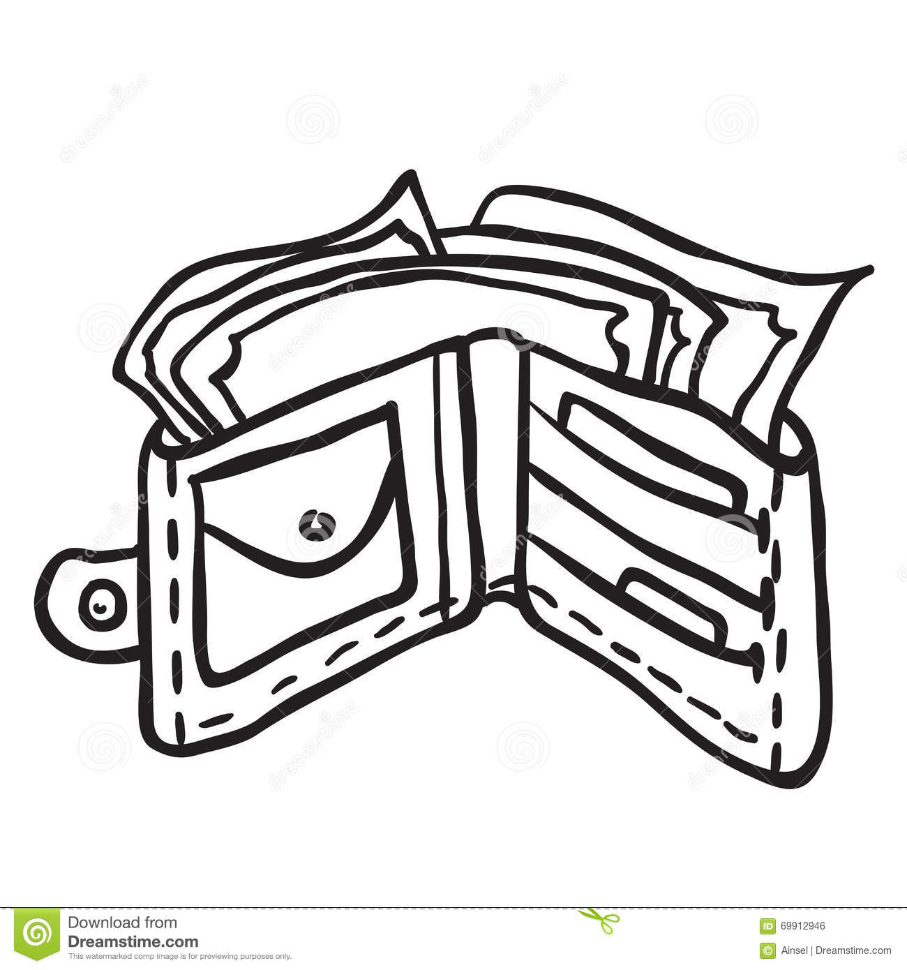 simple black and white wallet stock vector image 69912946