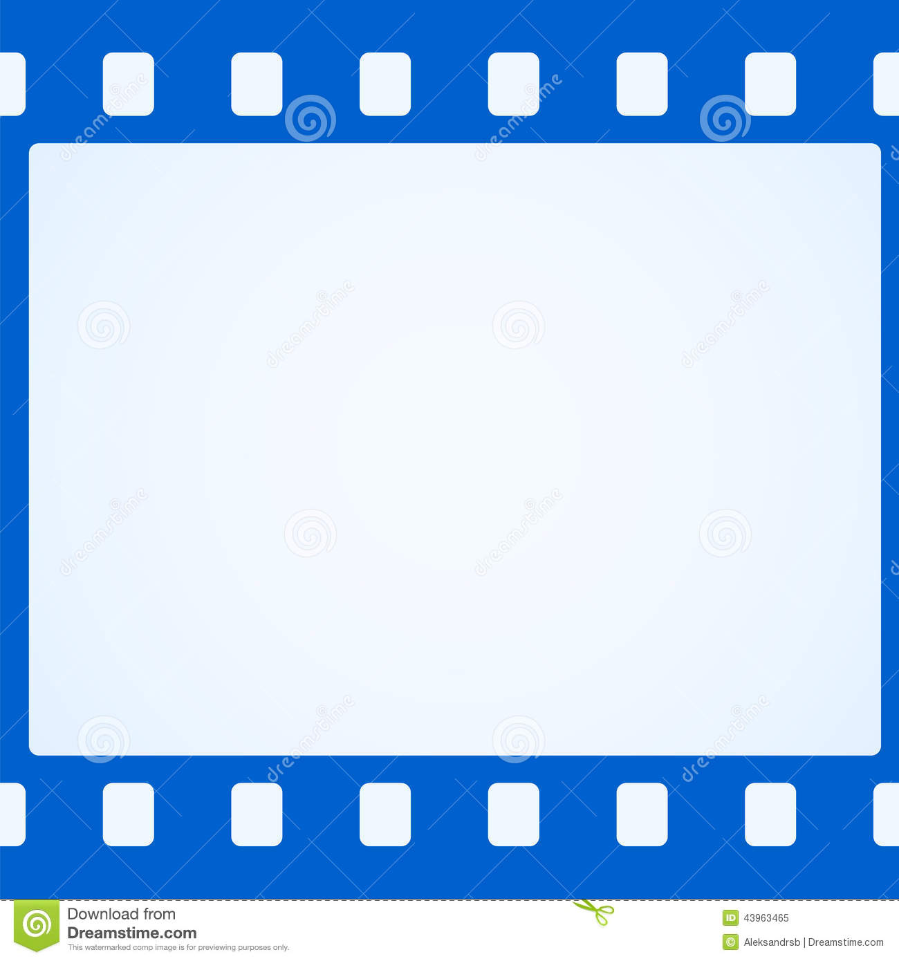 Simple Blue Film Strip Background Stock Vector Illustration Of