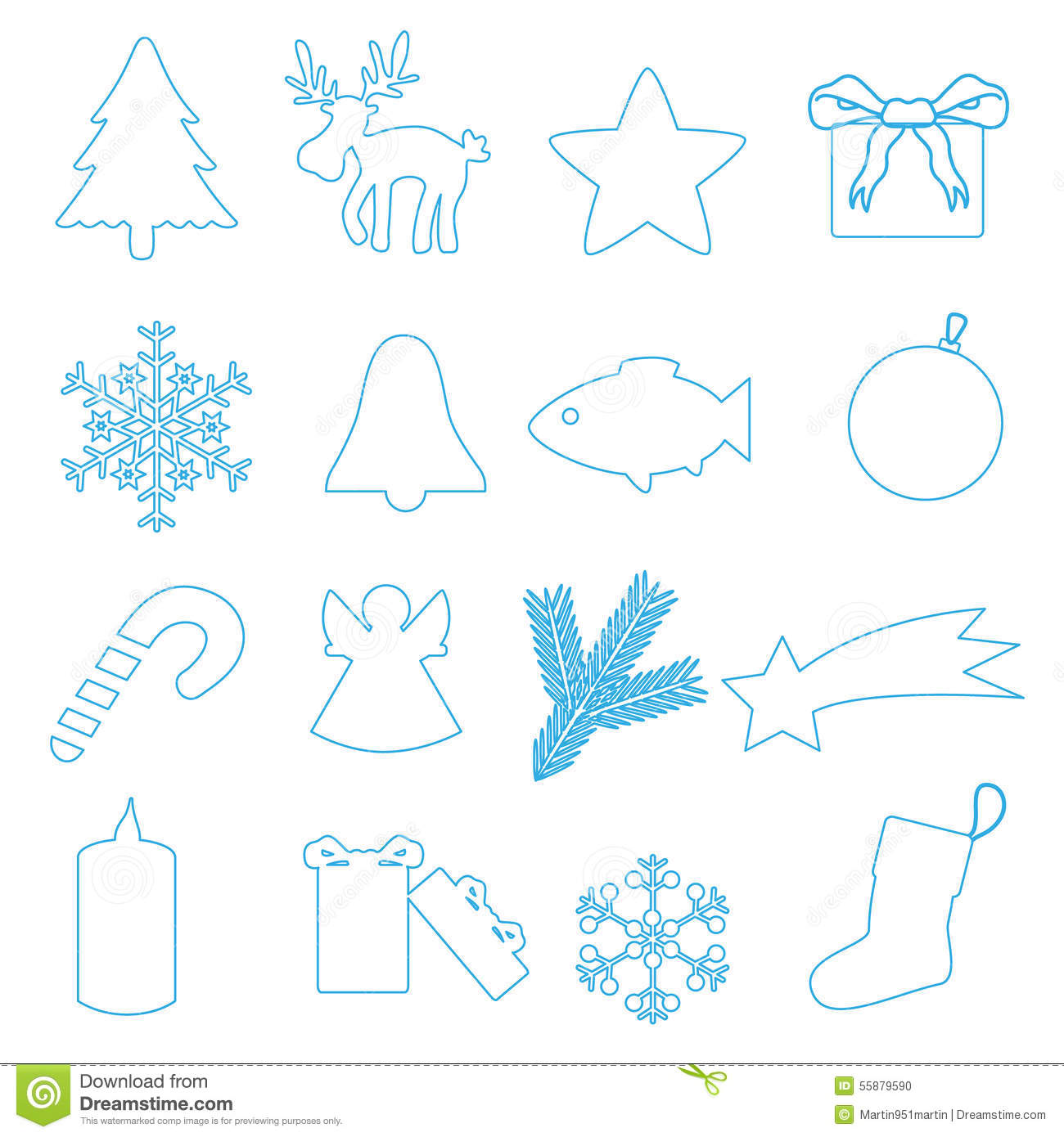 simple blue outline merry christmas icons stock vector image