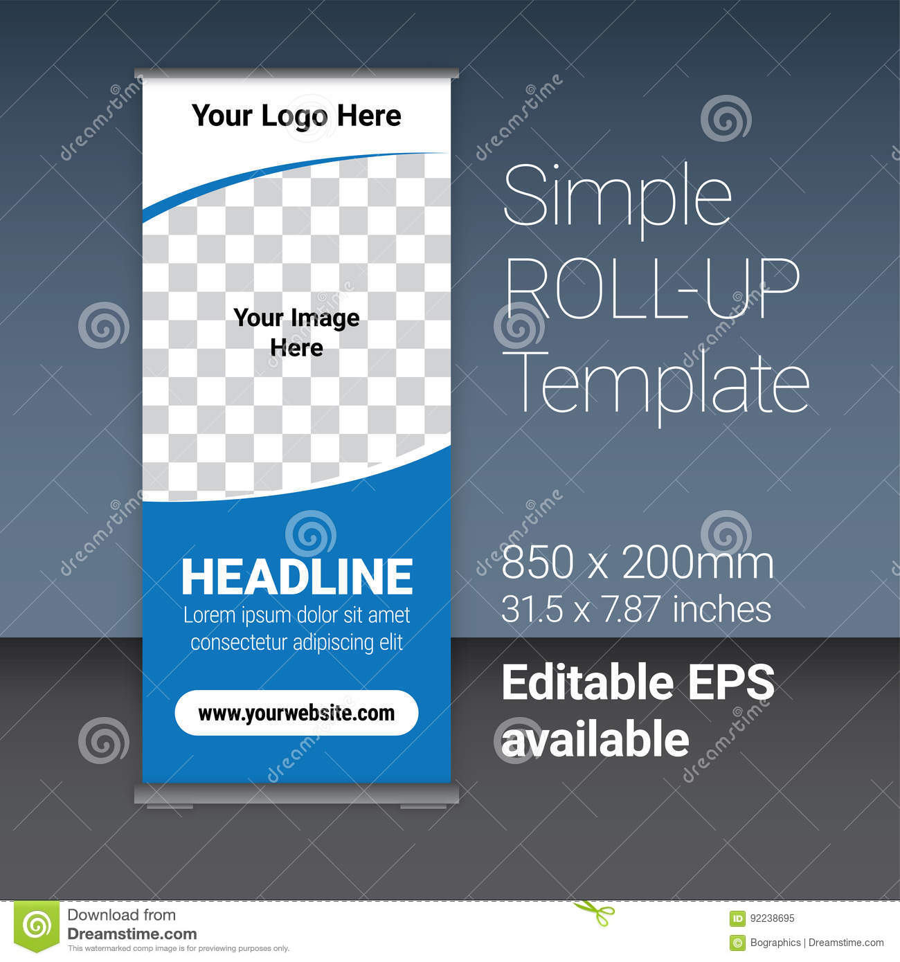 Simple Blue Roll-up Template Vector