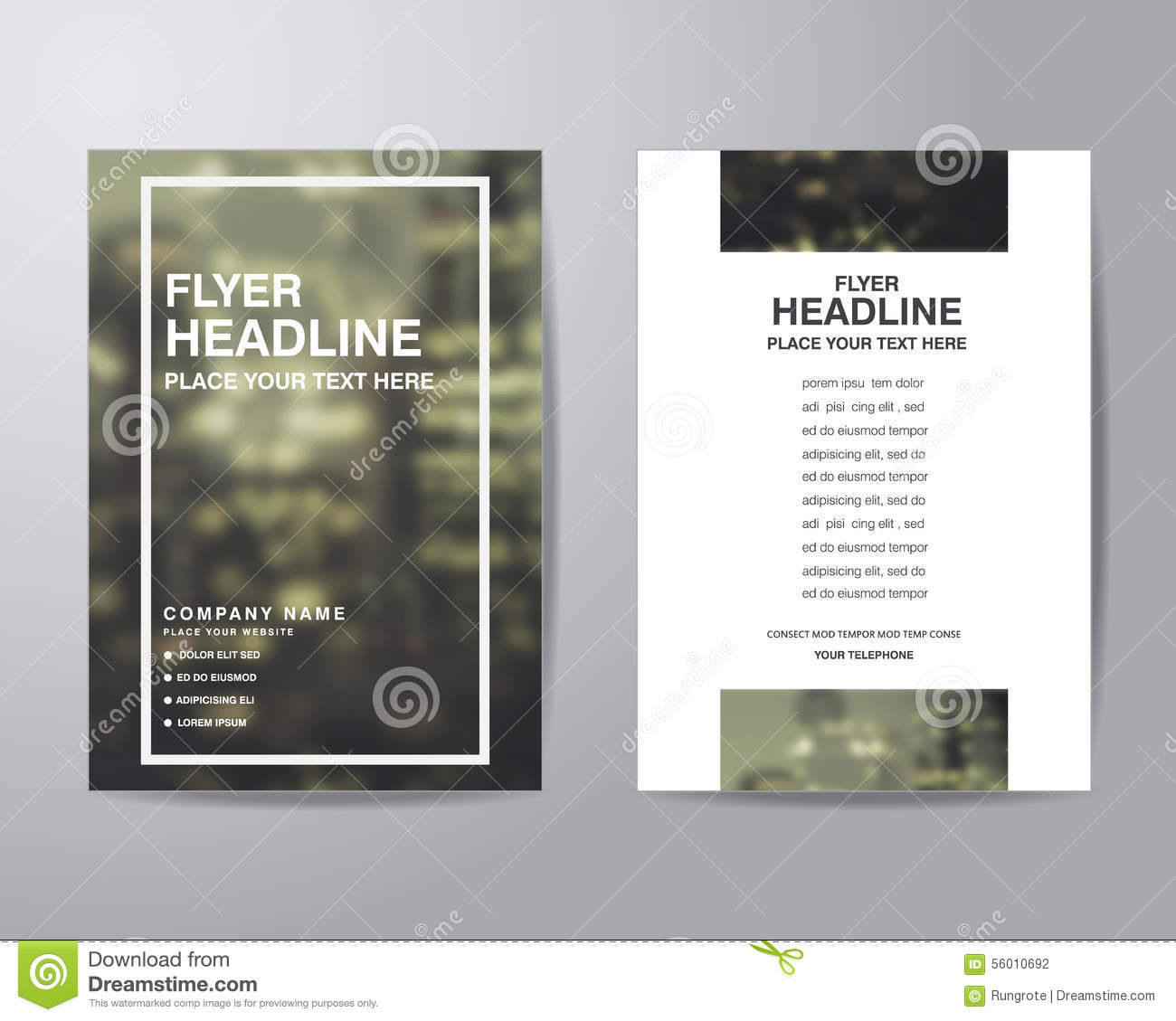 Simple blur background brochure flyer design layout for Basic brochure template