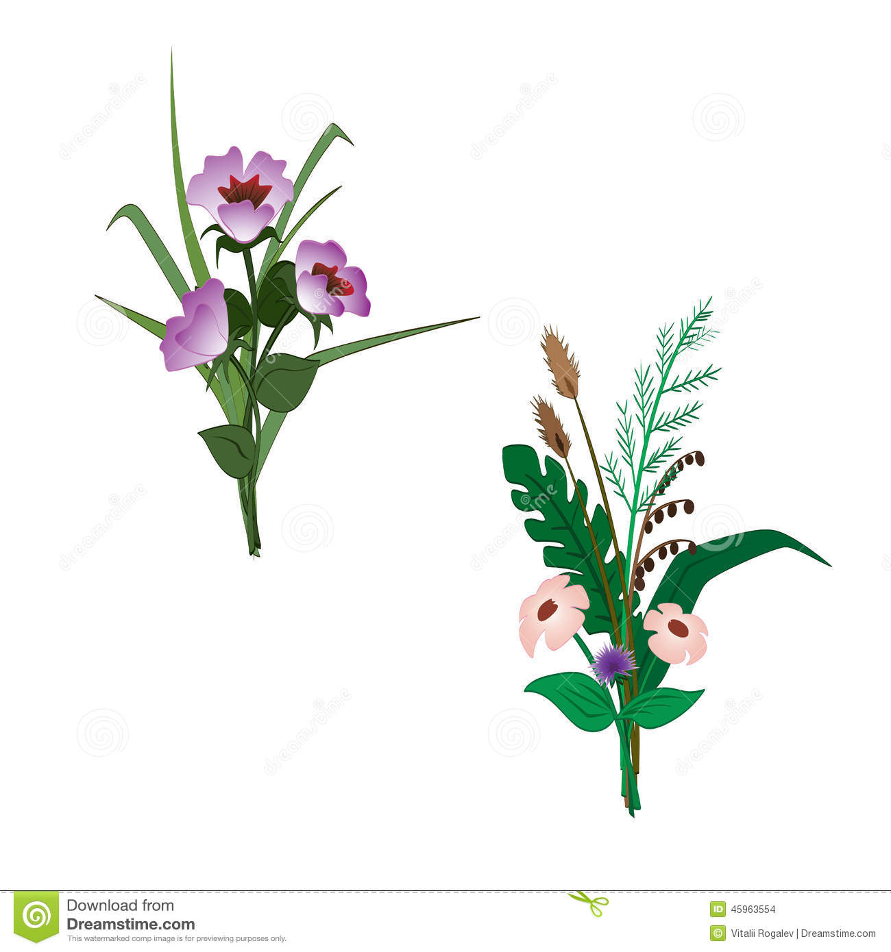 Simple Bouquets Of Flowers. Stock Illustration