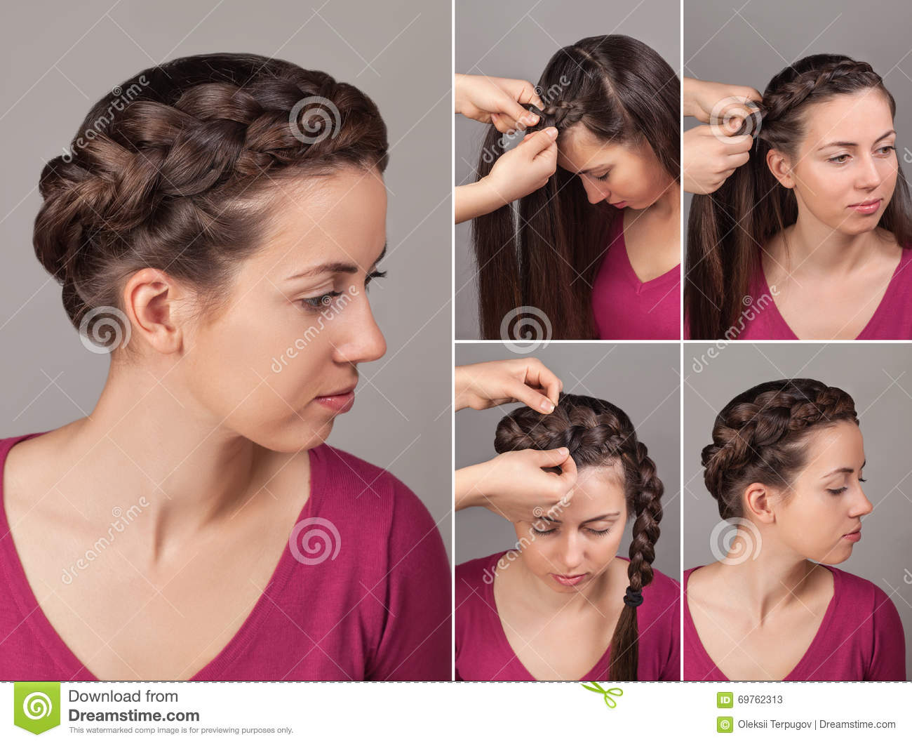 Simple Braid Hairstyle Tutorial Stock Image Image Of Fashion