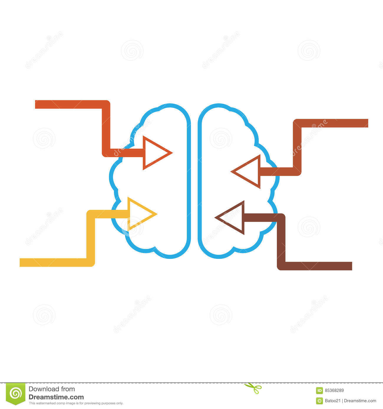 Simple Brain Icon With Arrows Stock Illustration