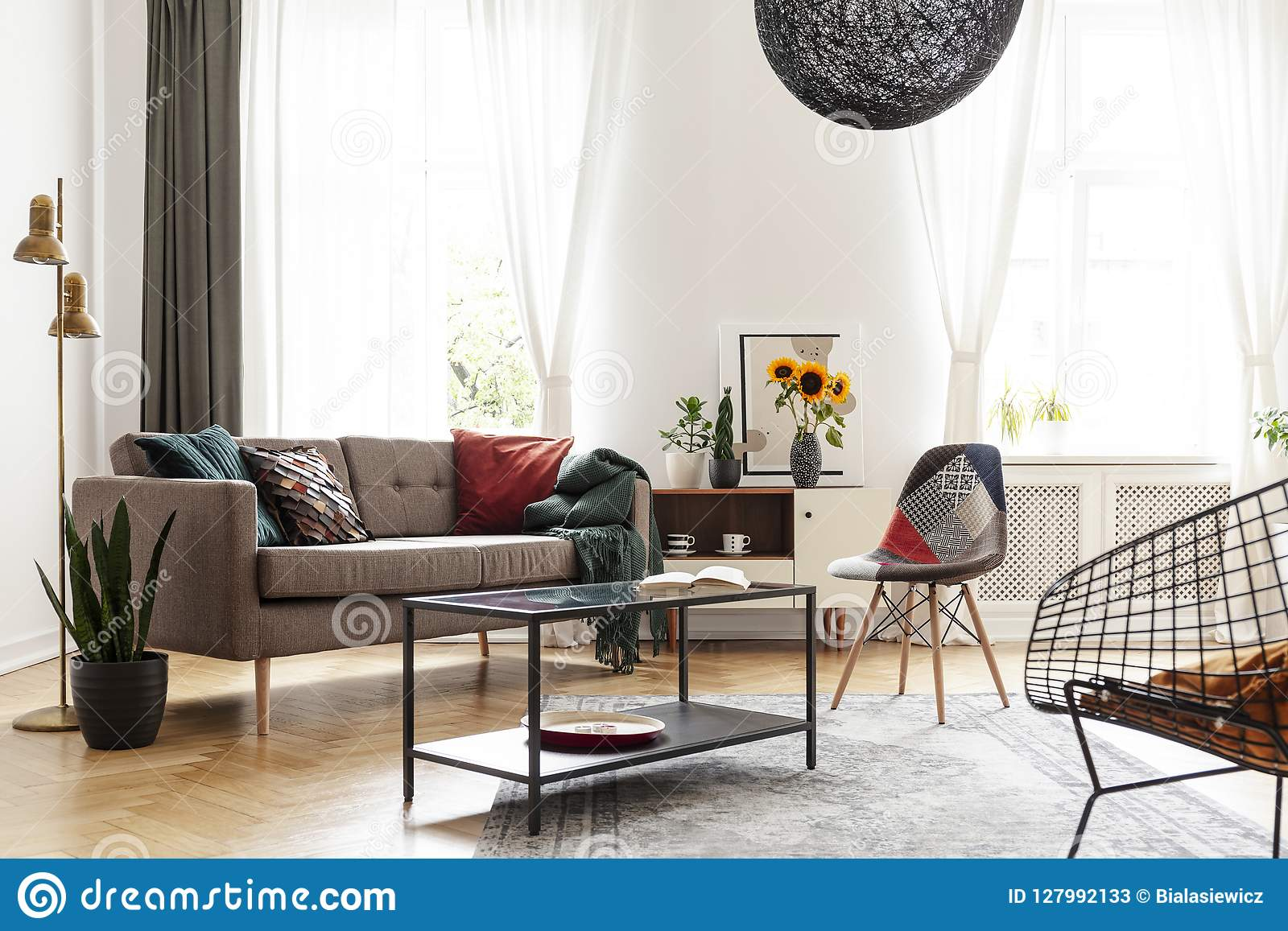 Peachy Simple Brown Sofa With Cushions In An Eclectic White Living Uwap Interior Chair Design Uwaporg