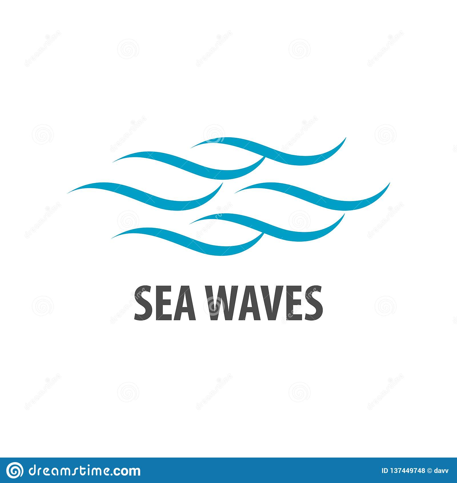 Simple Brush Line Sea Waves Logo Concept Design. Symbol