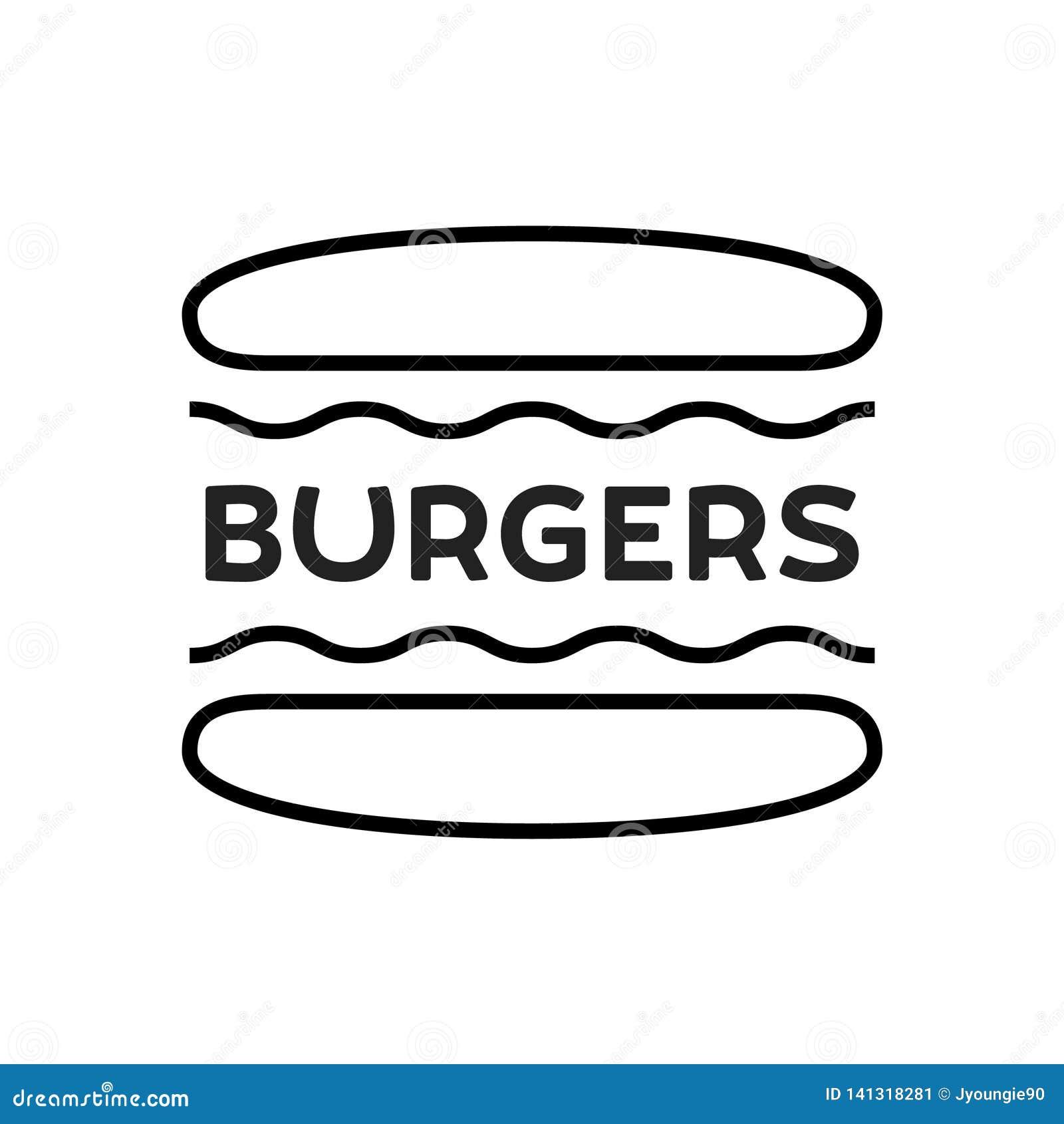 Burger Line Vector Icon Illustration
