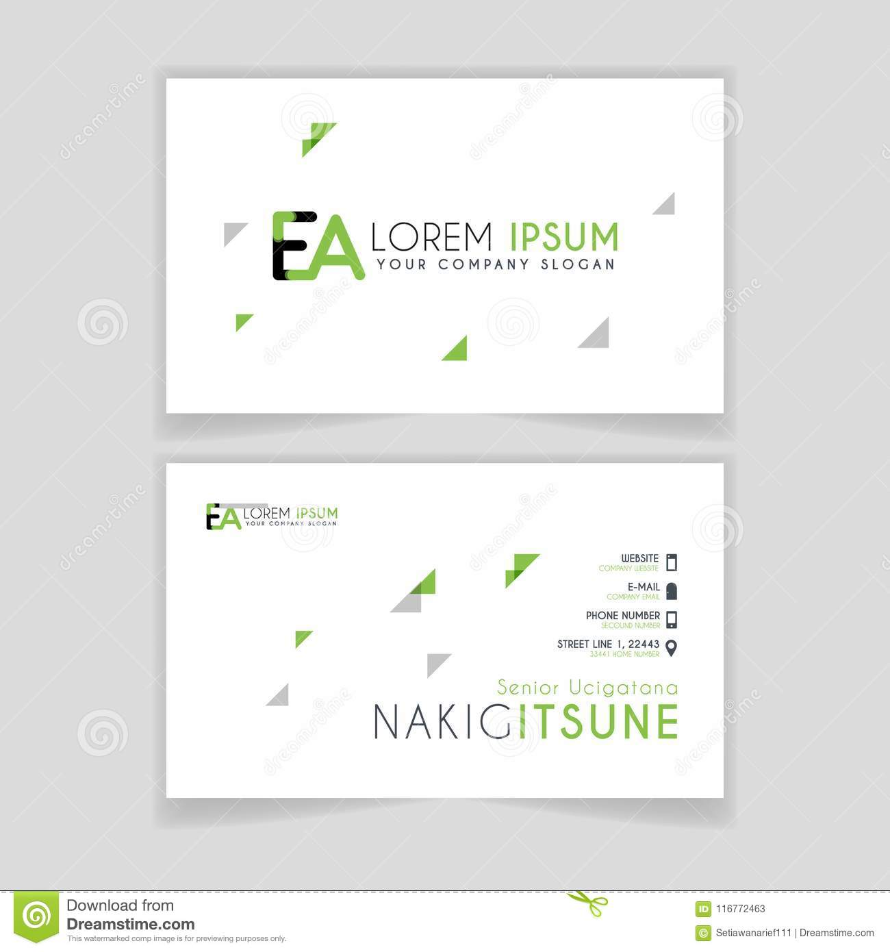 Simple Business Card With Initial Letter EA Rounded Edges