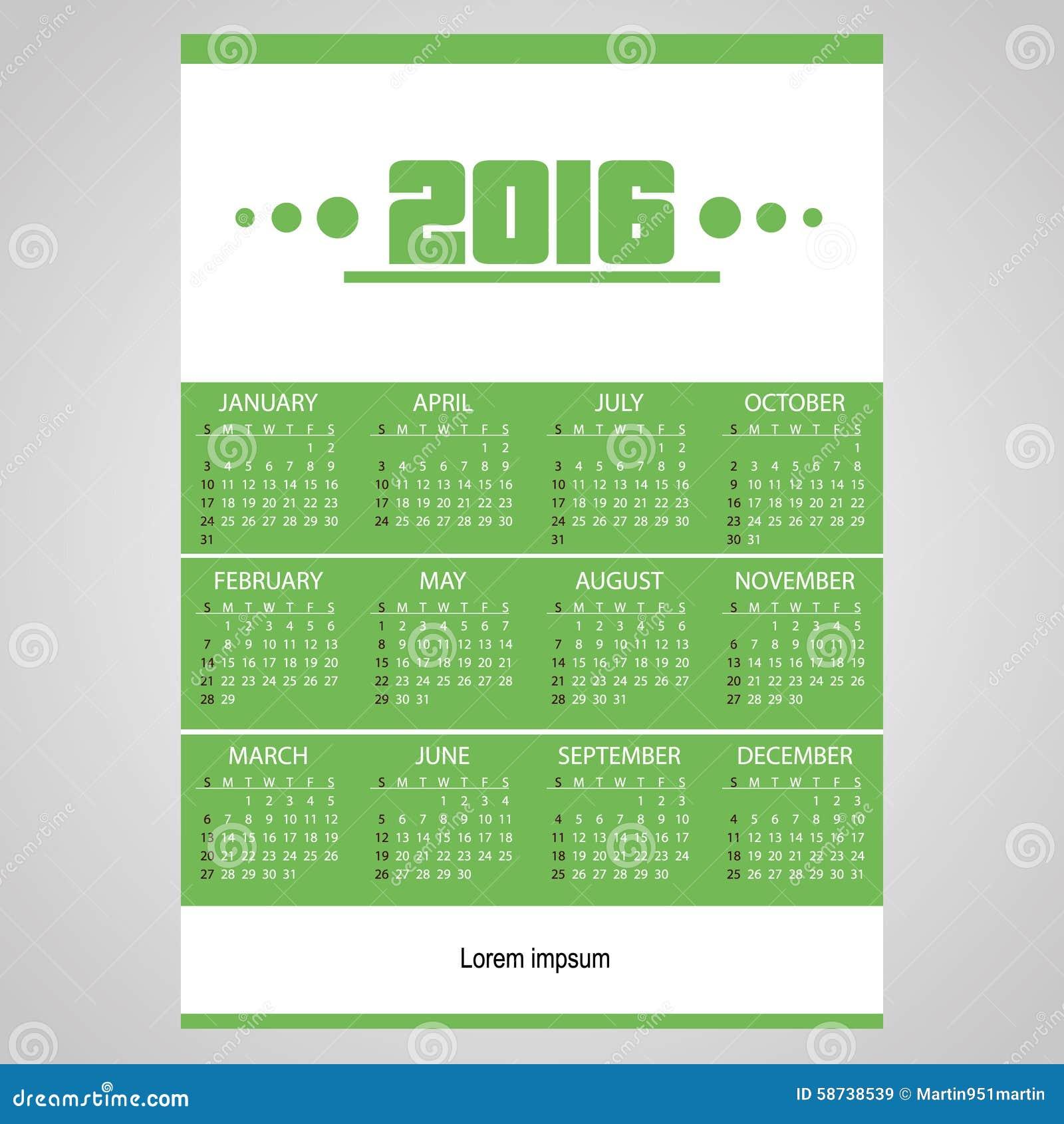 Calendar Green : Simple business wall calendar green and white eps
