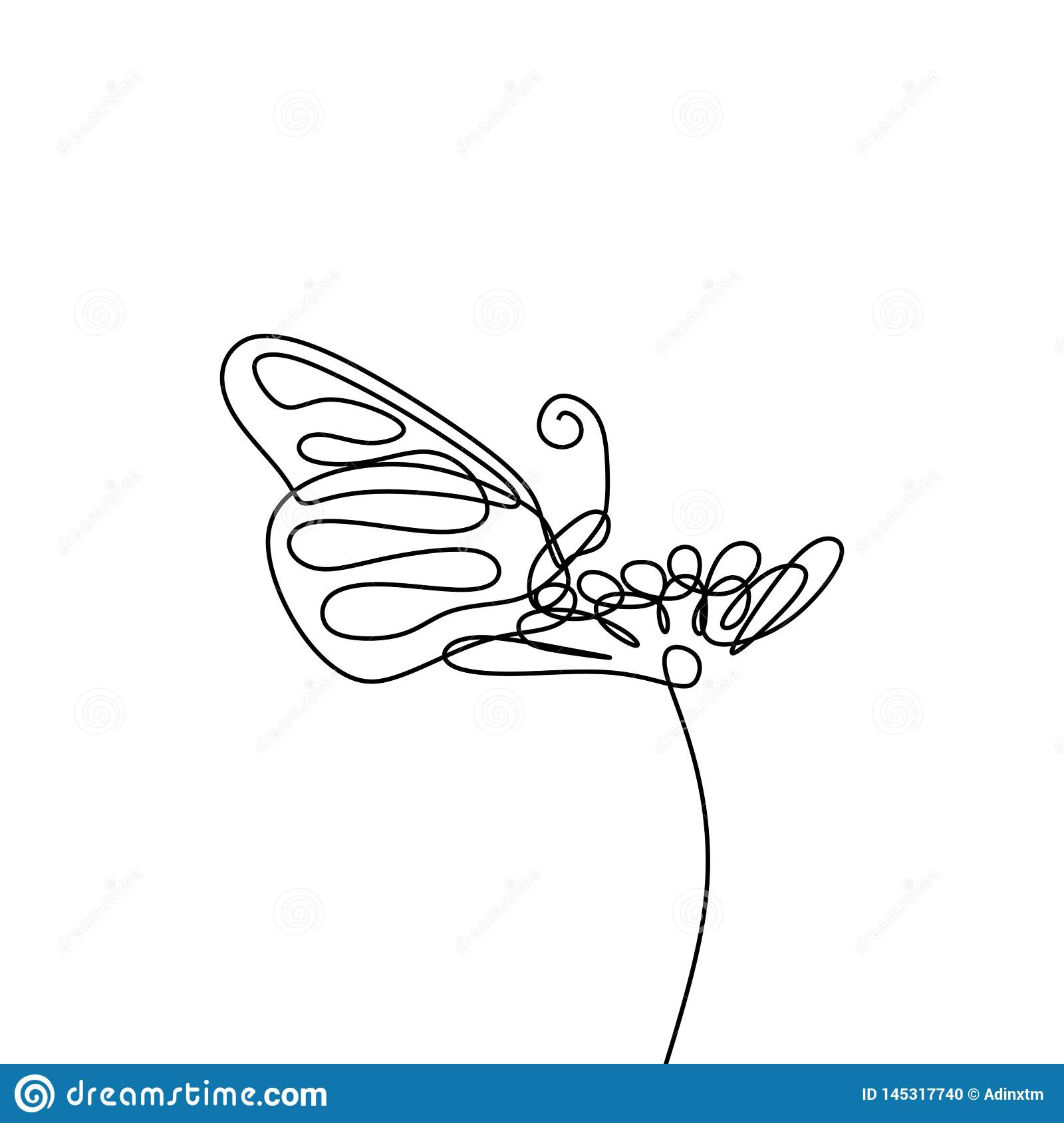 Simple butterfly and flower continuous line drawing vector illustration minimalist design