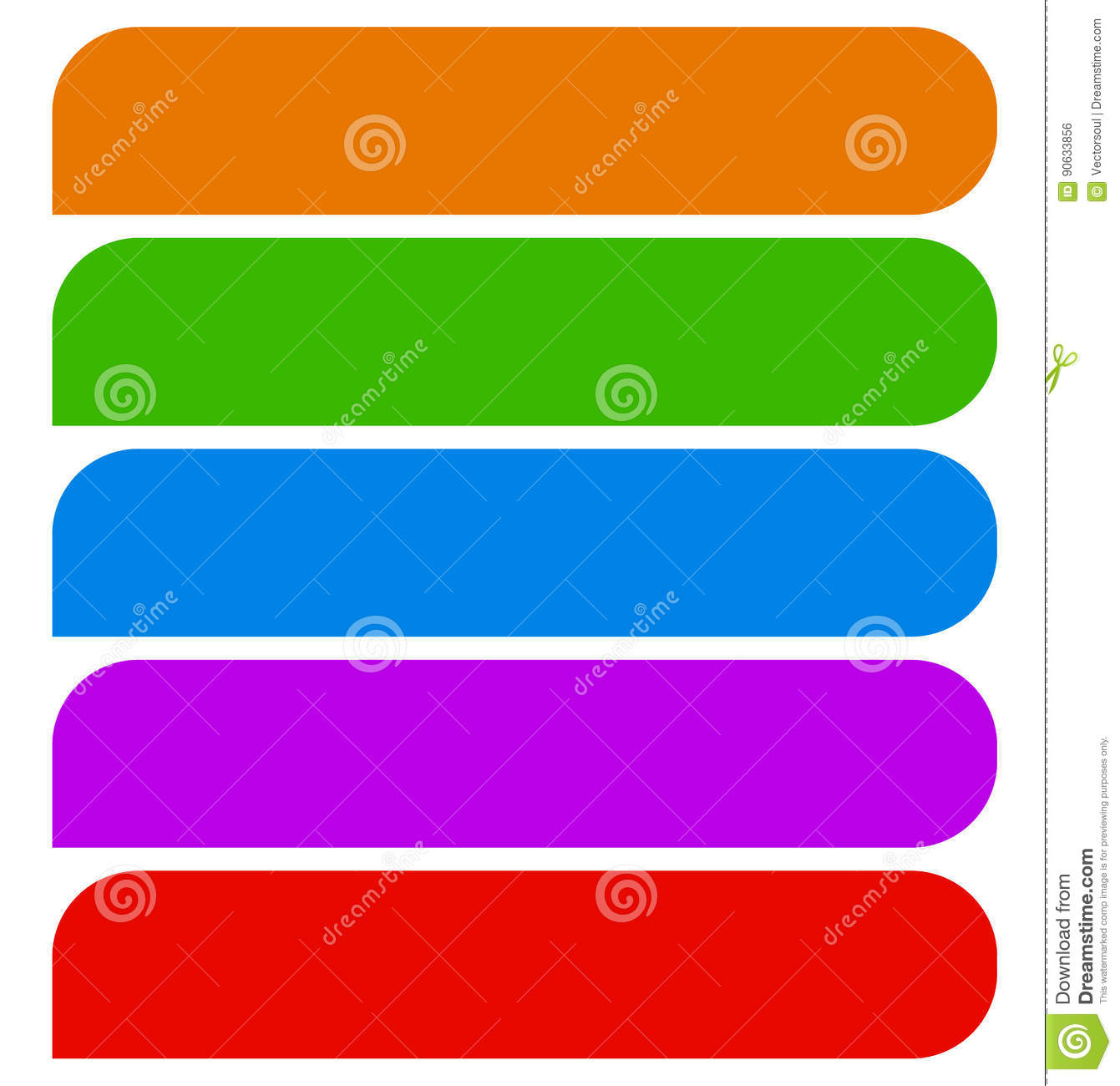 simple button or banner shapes background in 5 matching color
