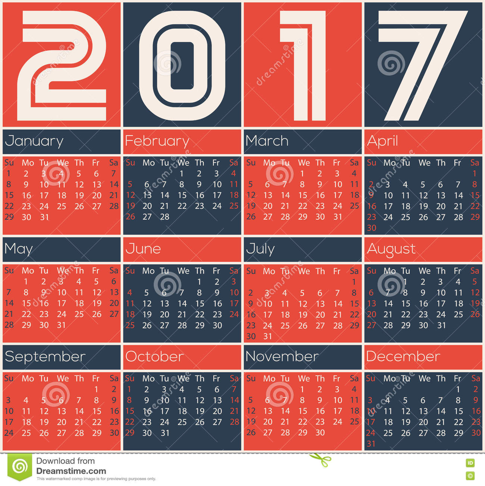 Minimalistic Calendar Design : Simple calendar design stock vector image
