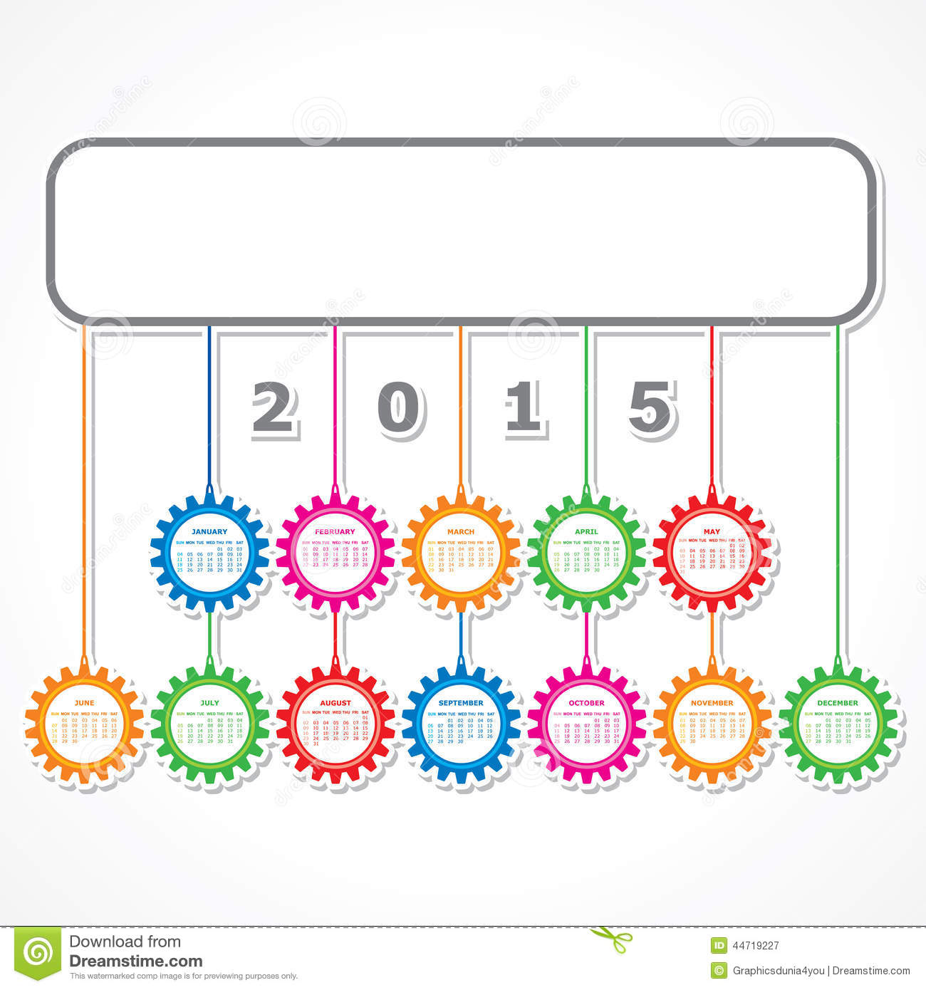 Hanging Calendar Design : Simple calendar design with colorful hanging gears