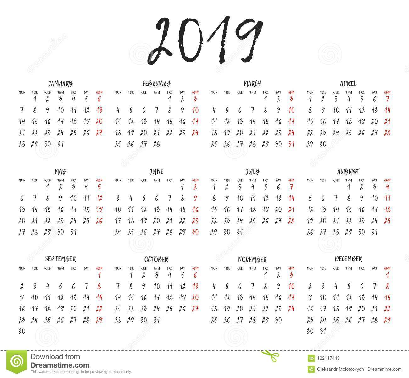 Simple Calendar Grid For 2019 Calendar Template Week Starts Monday