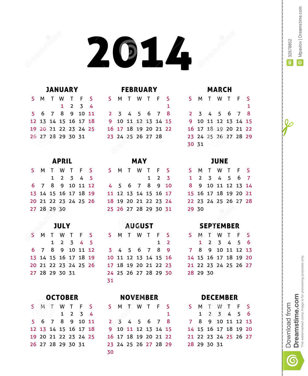August 2014 Cpo Offers Table Jpg: Simple 2014 Calendar Stock Photography