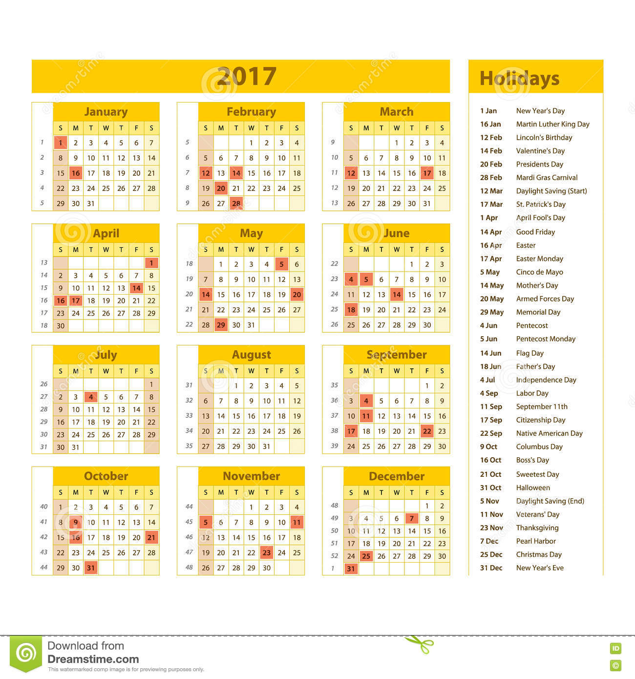 calendar with official holidays - Calendar
