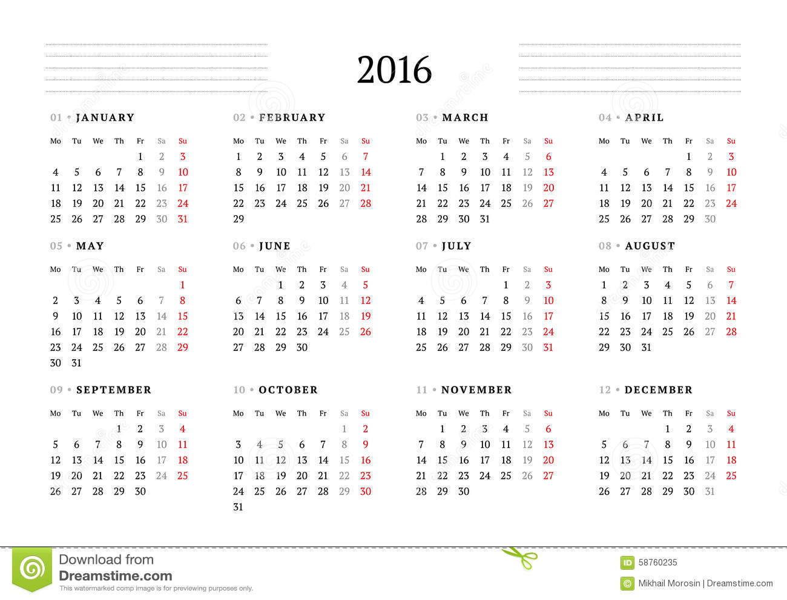 Simple Calendar For 2016 12 Months Week Starts Monday