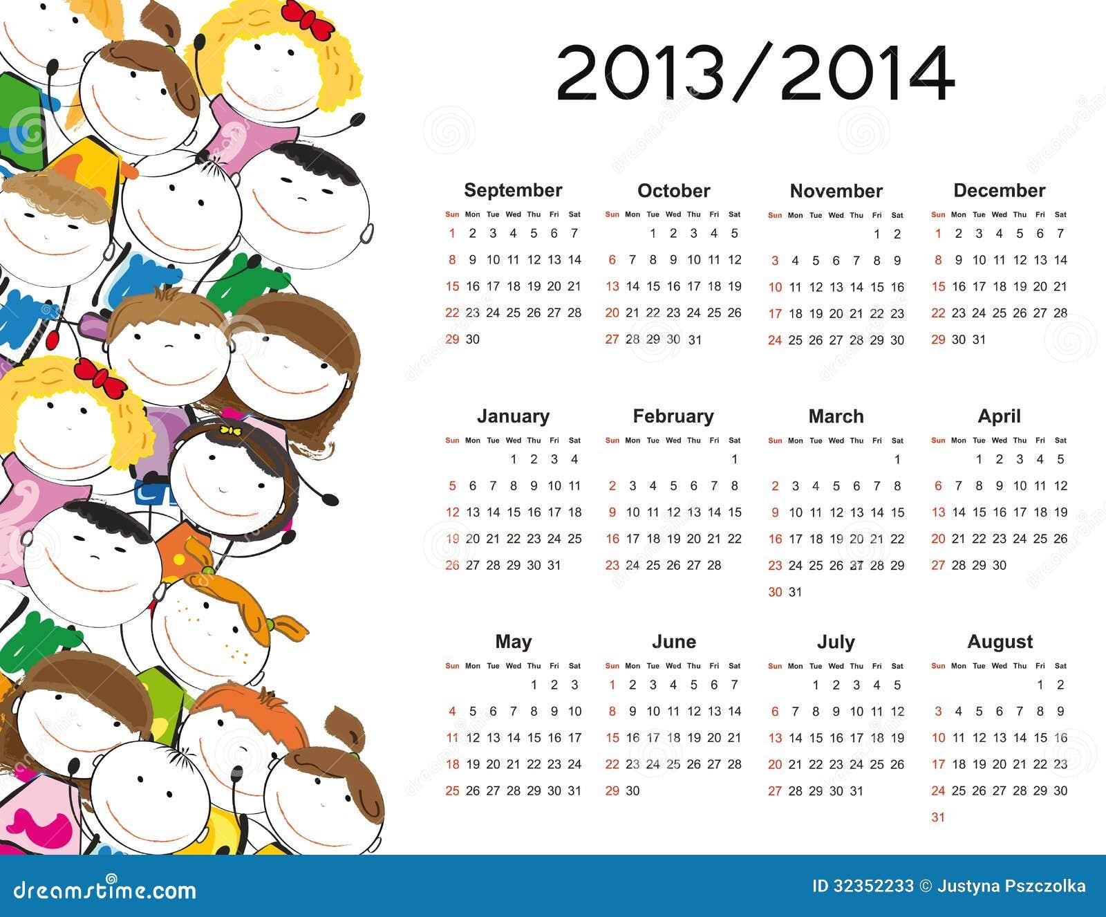 Простой календарь на новый учебный год 2013 и 2014 годах со счастливыми детьми stock photography.