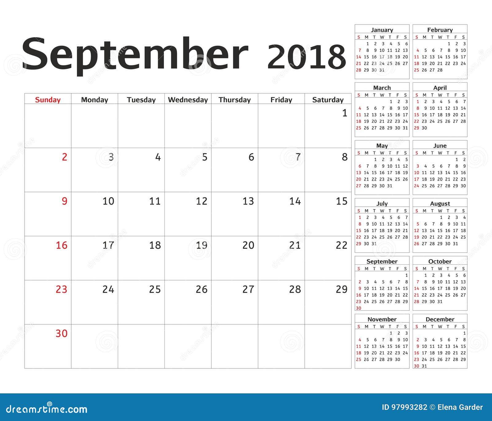 simple calendar planner for 2018 year