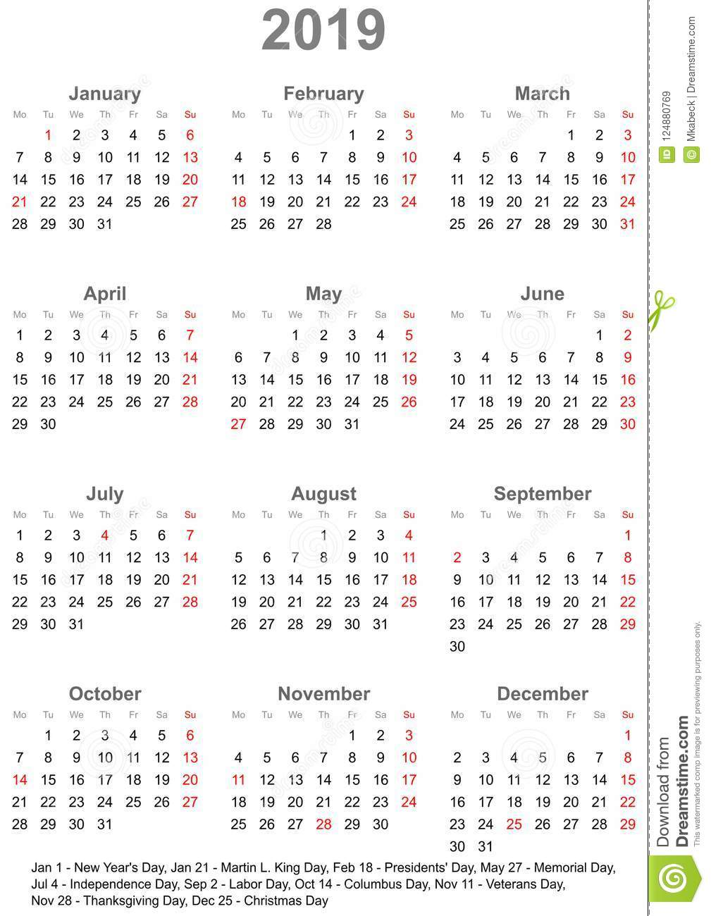 simple calendar 2019 with public holidays for usa