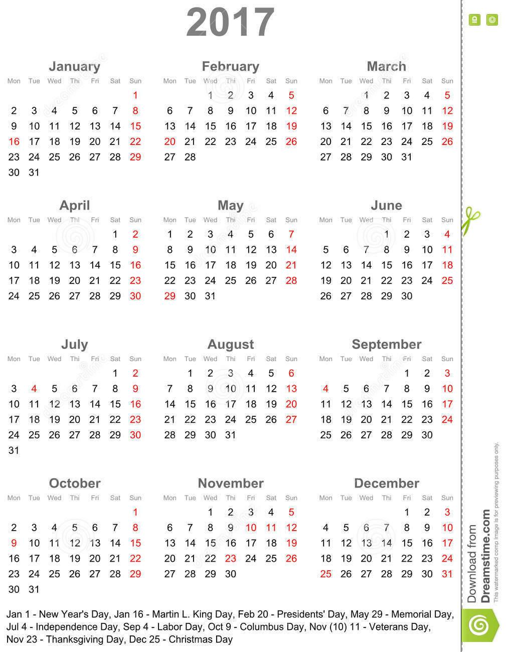 Simple Calendar 2017 With Public Holidays For The USA
