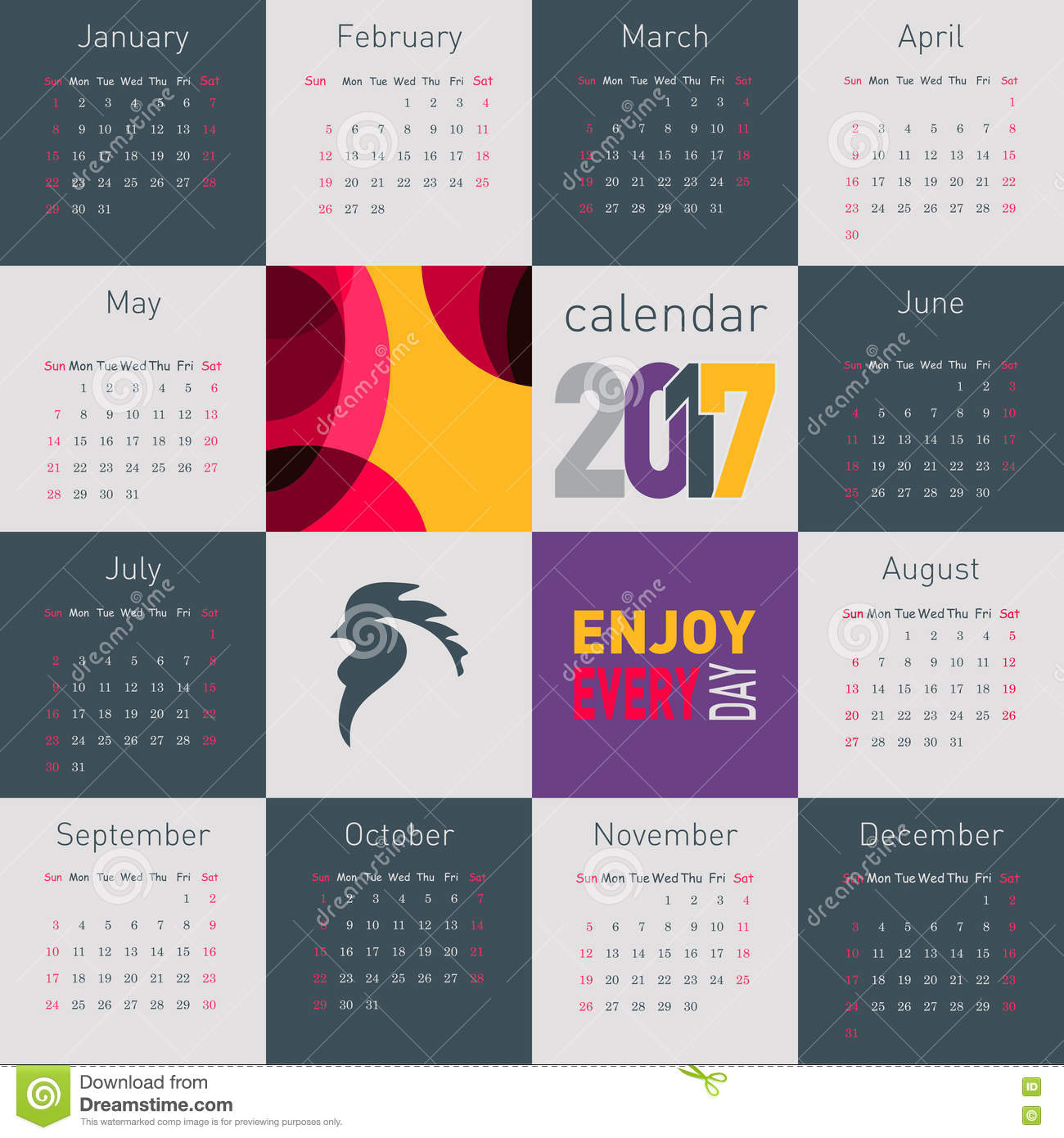 Chinese Calendar Illustration : Simple calendar with rooster symbol of on the