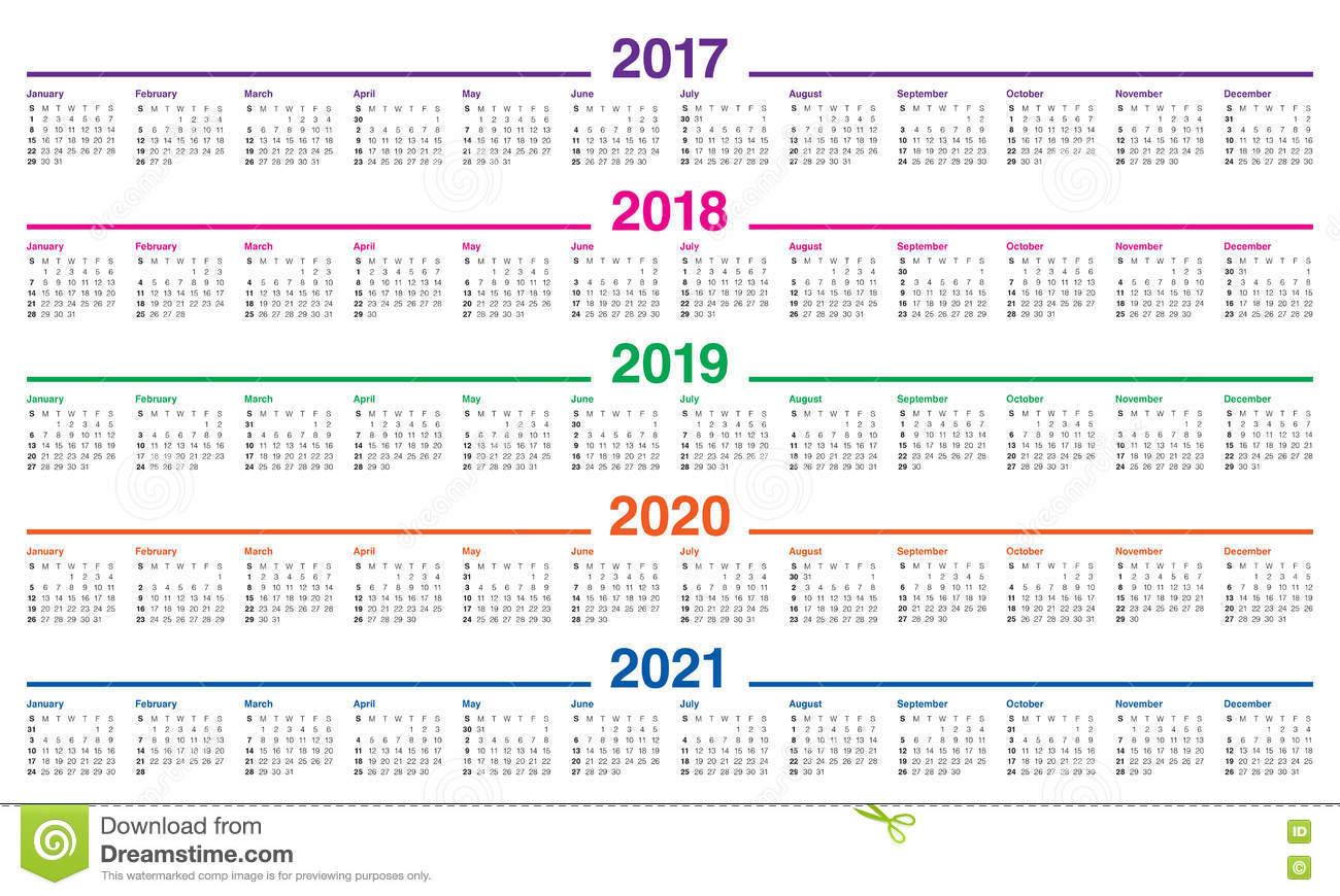 Simple Calendar Template For 2017 To 2021 Stock Vector