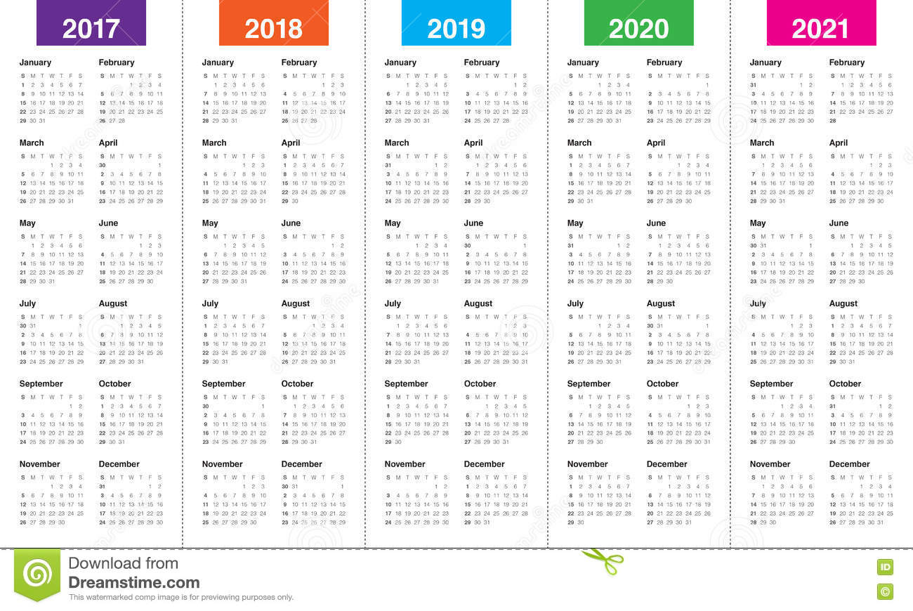 simple calendar template for 2017 to 2021
