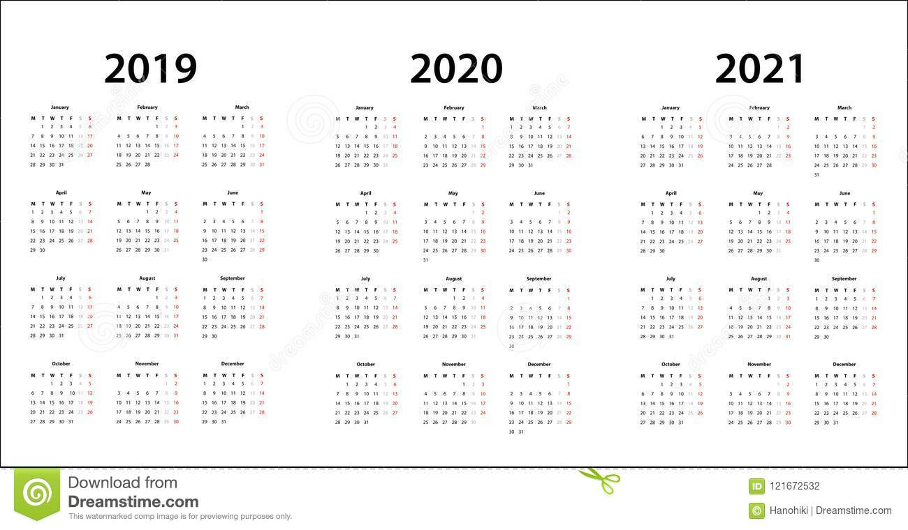 Layout Calendario 2020.Simple Calendar Template For 2019 2020 And 2021 Stock
