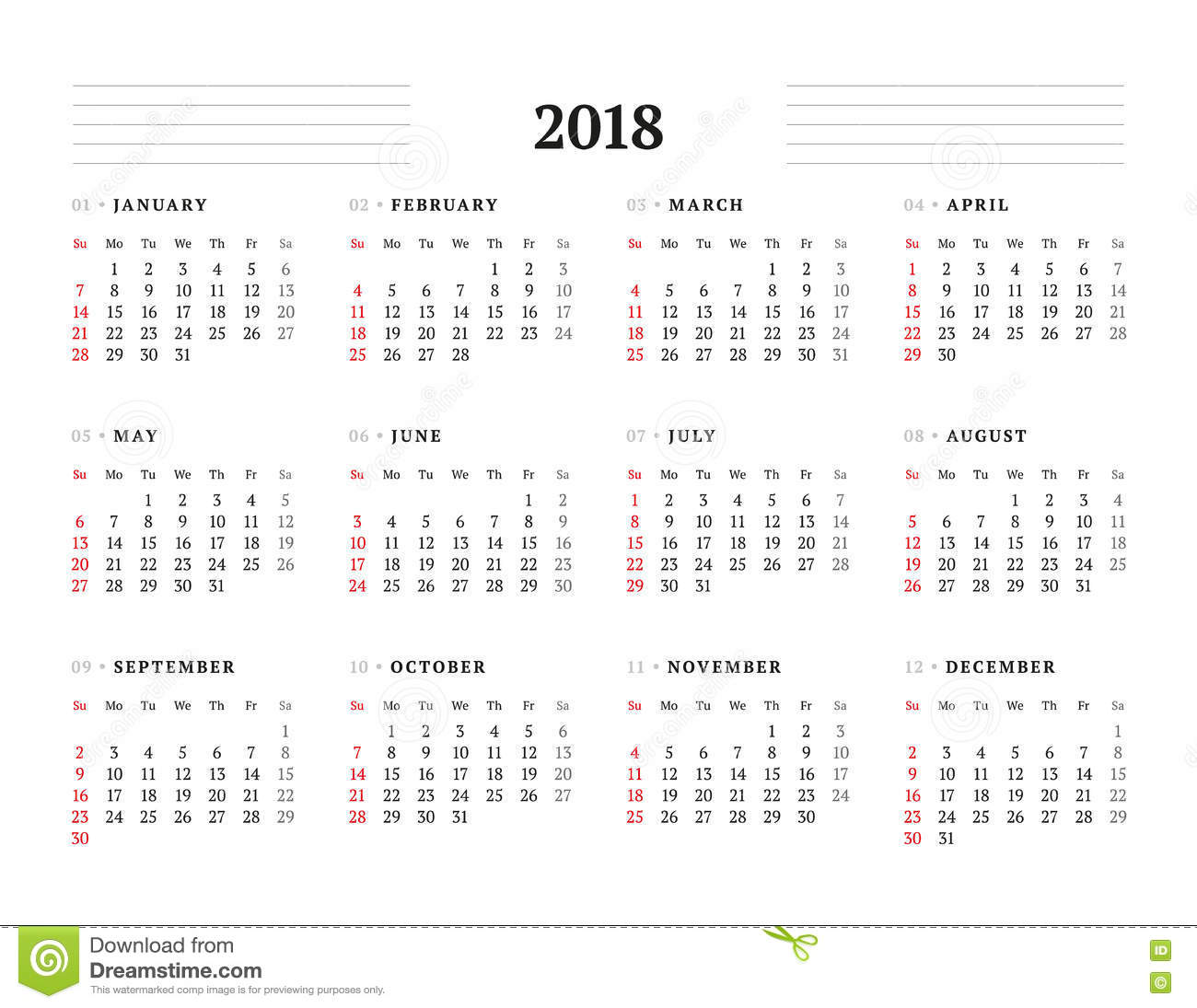 Simple Calendar Template For 2018 Year Stock Vector - Image: 74416042