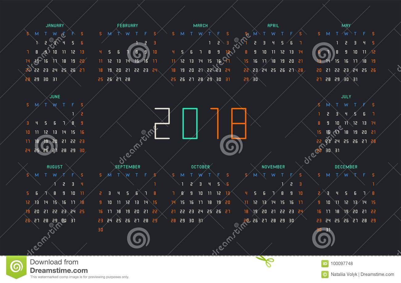 simple calendar template for 2018 year stationery design week starts on sunday vector illustration