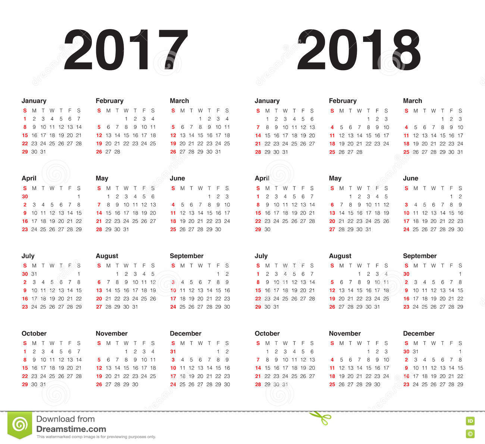 simple calendar 2018