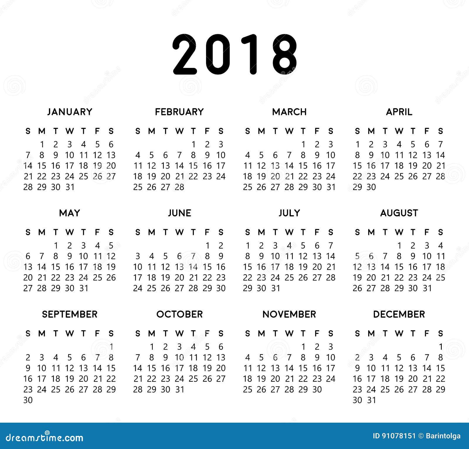 2018 simple calendar