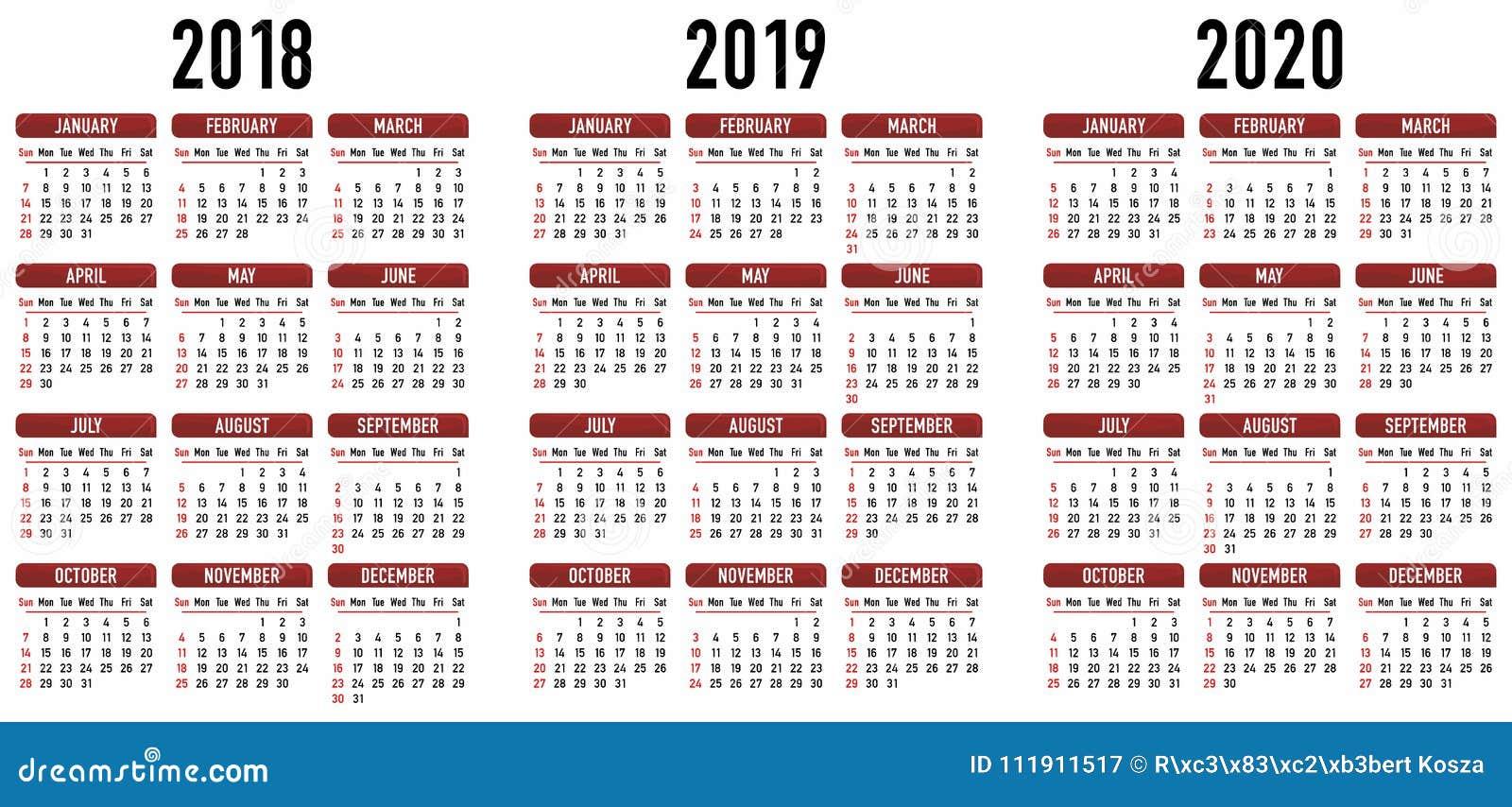 Calendario 2020 Vector Gratis En Espanol.Simple Calendar 2018 2019 2020 Vector Graphic Stock