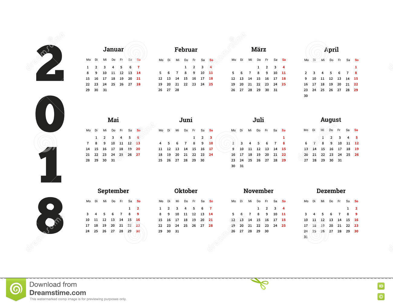 simple calendar on 2018 year in german language
