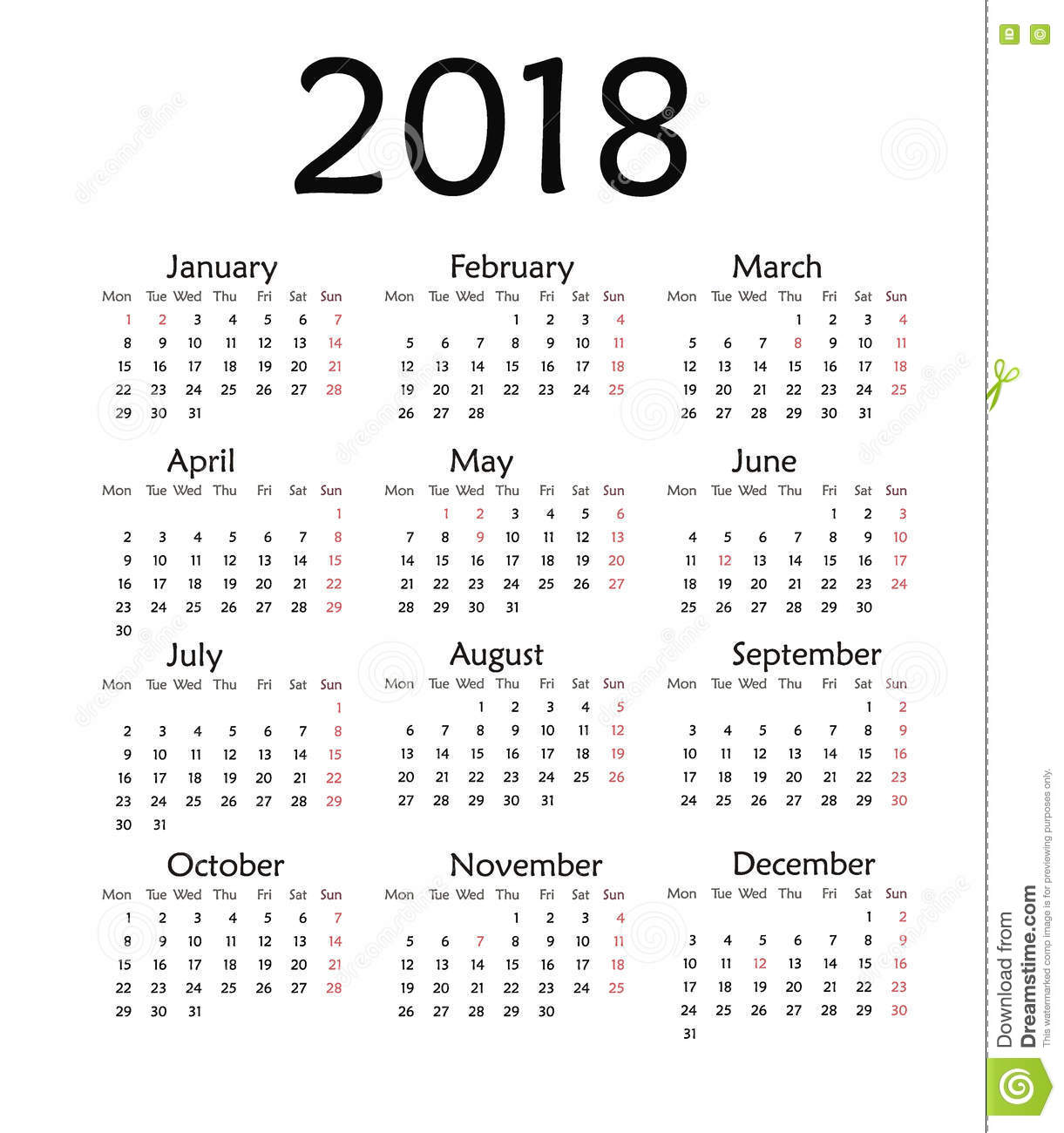 simple calendar for 2018 year stock illustration illustration of