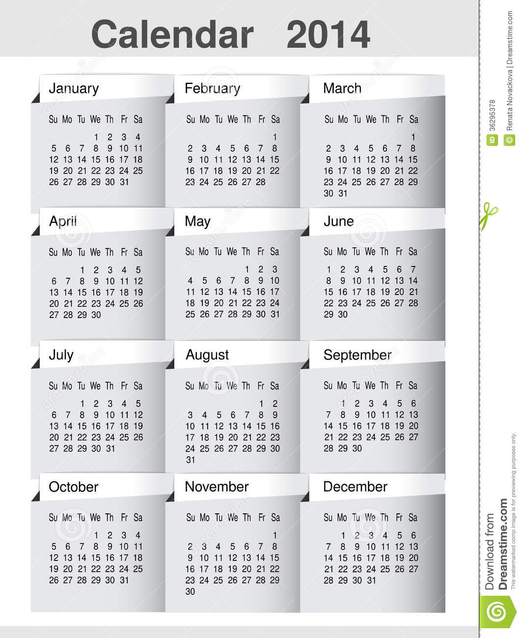 Simple Calendar 2014 Year Template Modern Layout Page Stock Vector