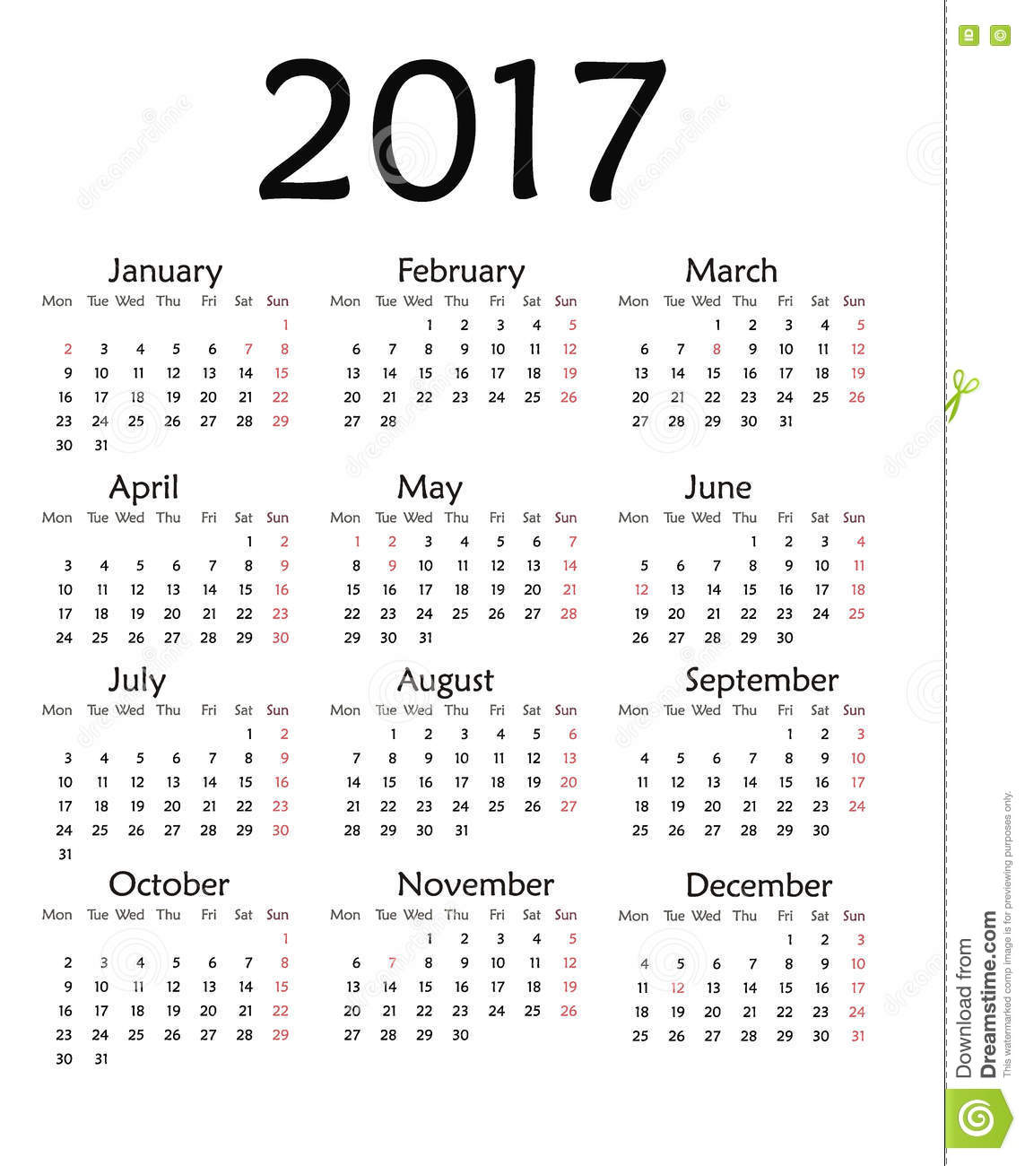 Simple Calendar For 2017 Year . Stock Illustration - Image: 78360099