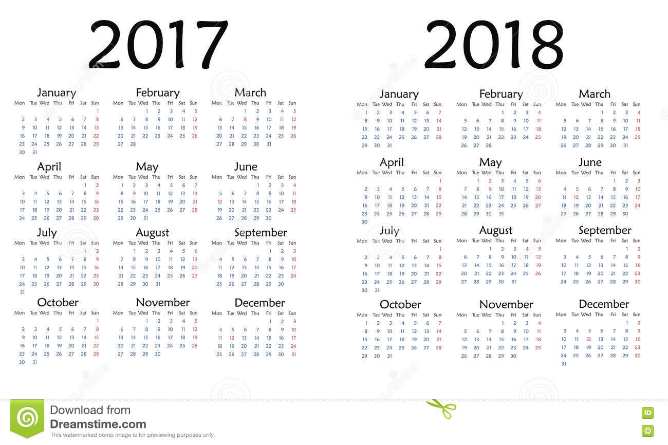 Simple Calendar For 2017 And 2018 Year . Stock Illustration