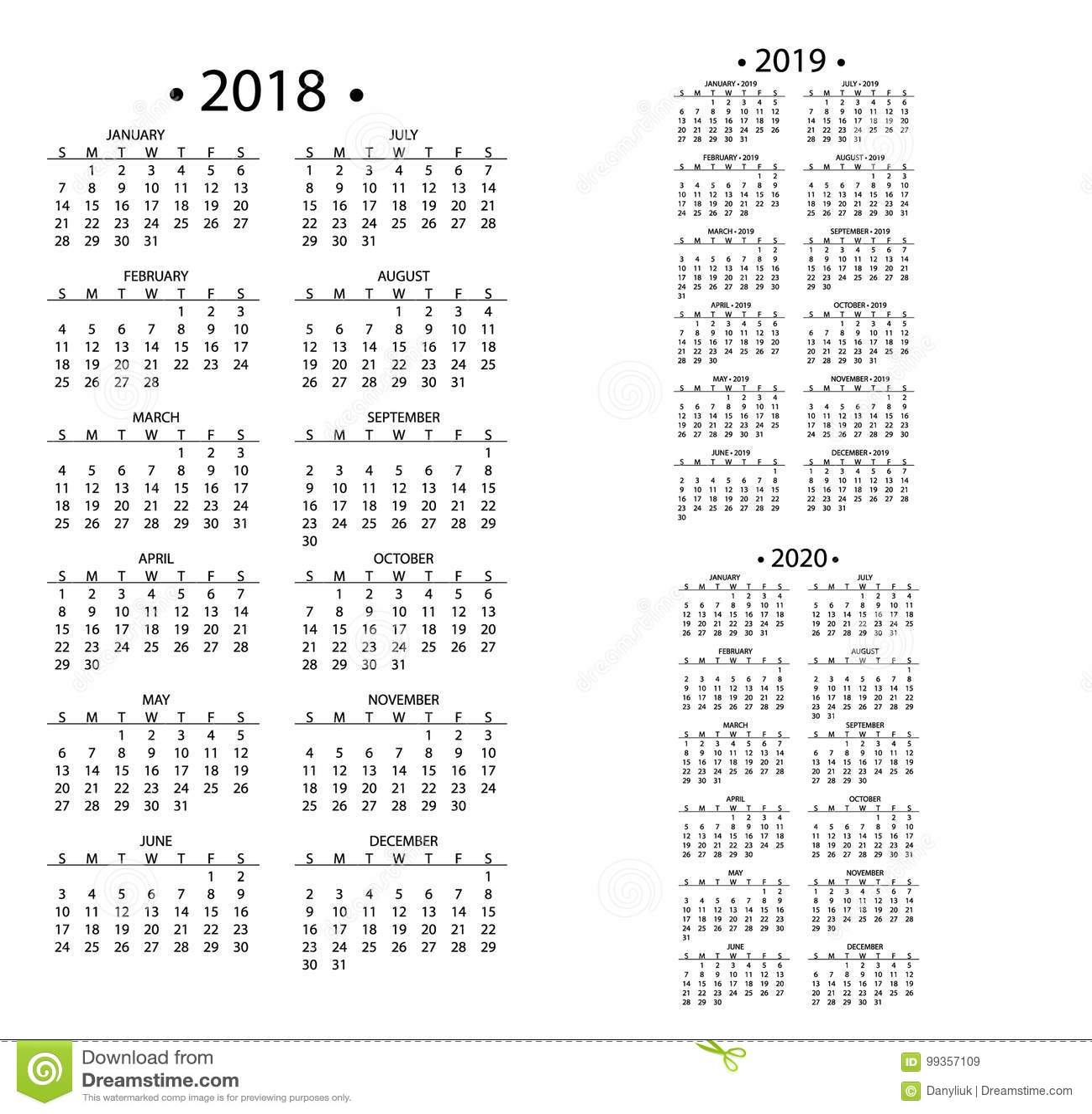 calendar for 2019 and 2020 vector illustration cartoondealer com 50677558