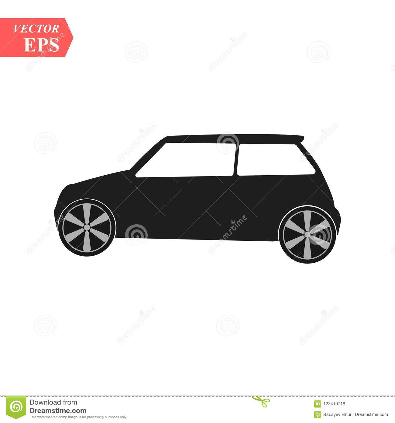 Simple Car Icon Vector Flat Hatchback Symbol Perfect Black