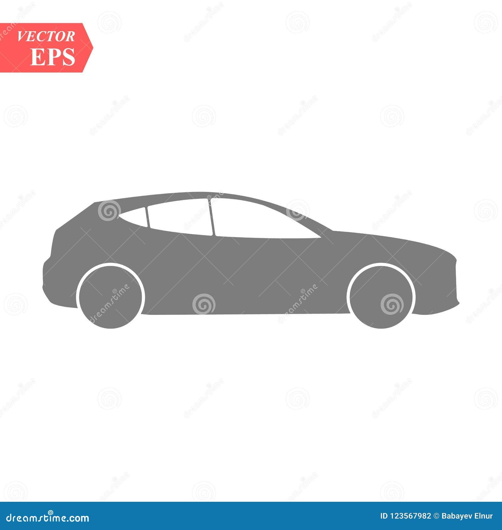 Simple Car Icon Vector Flat Hatchback Symbol Perfect Black