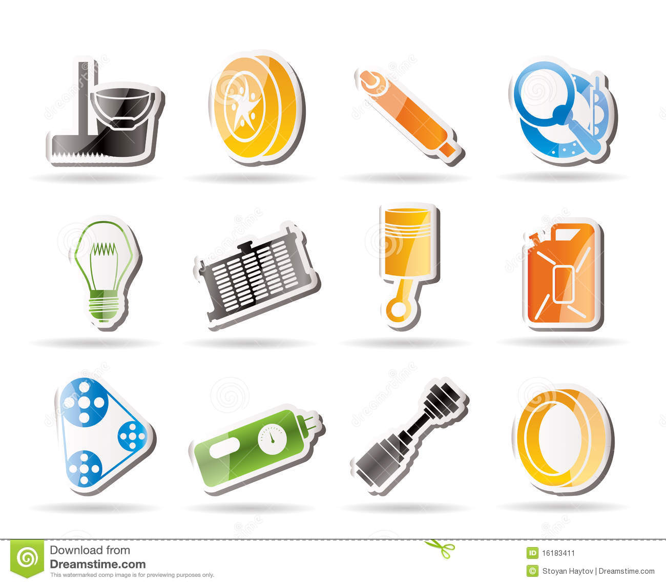 Simple car parts and services icons stock image image for Simple car parts