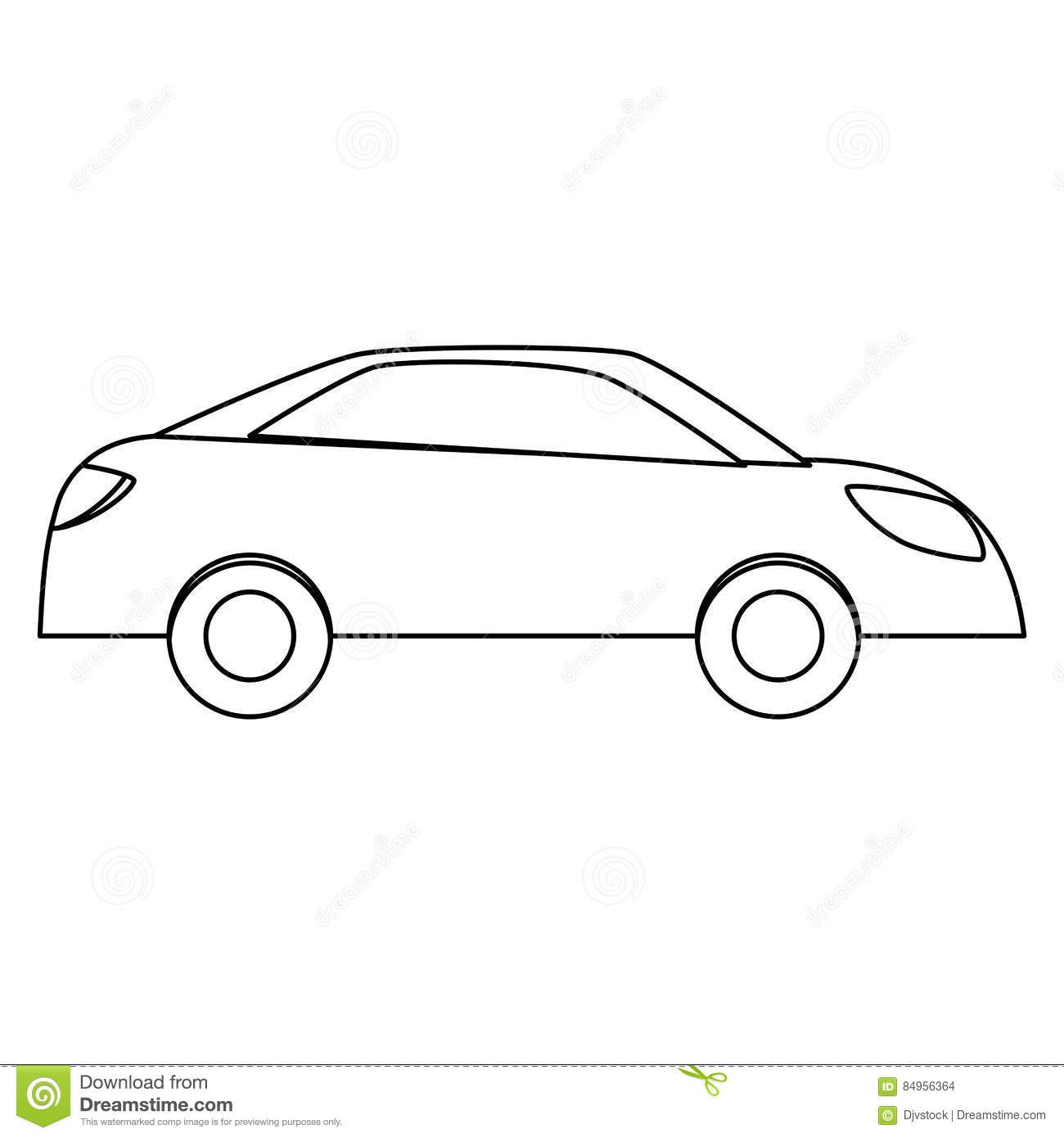 Simple car sideview icon image stock illustration