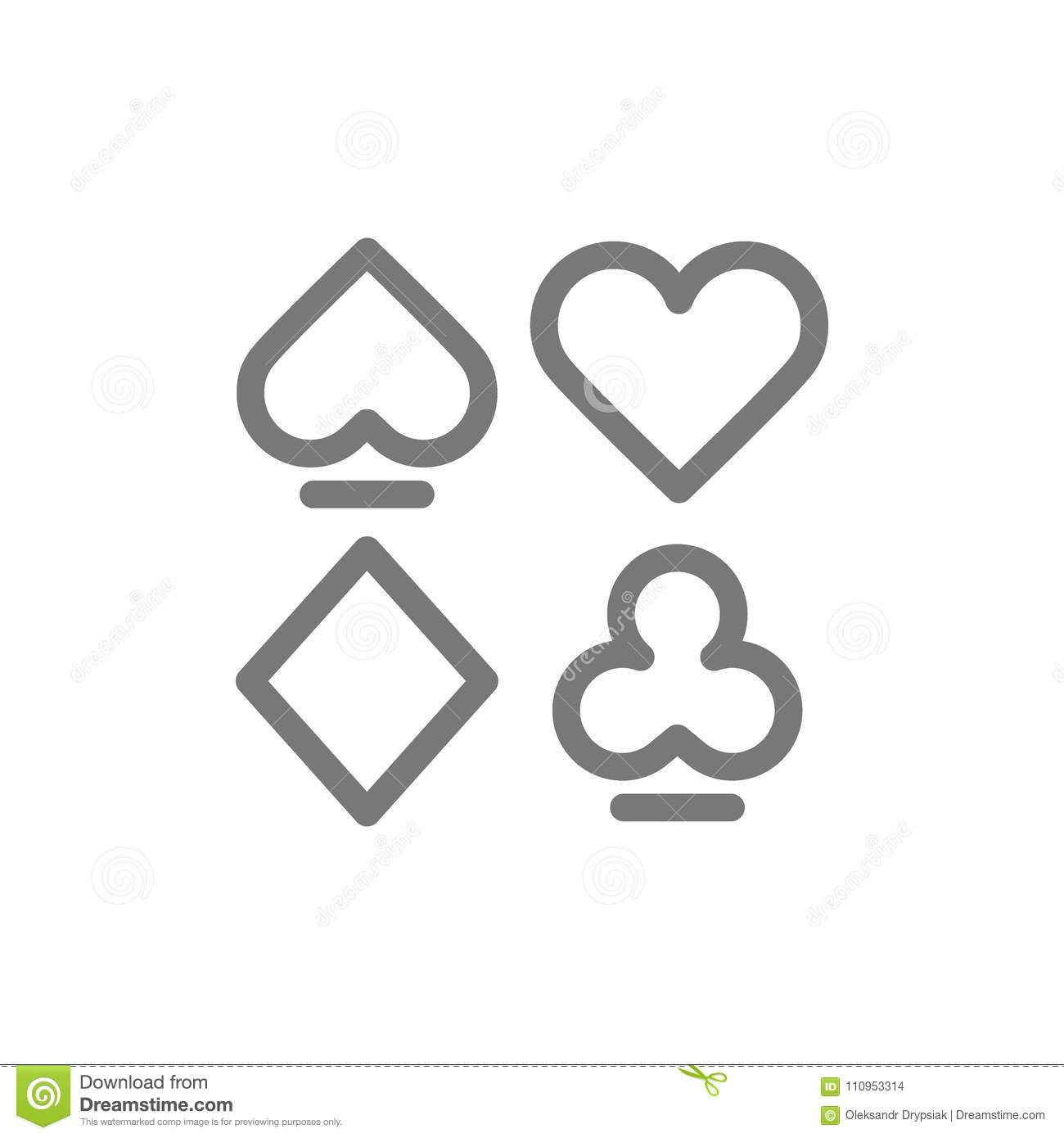 Simple card suits line icon. Symbol and sign vector illustration design. Isolated on white background