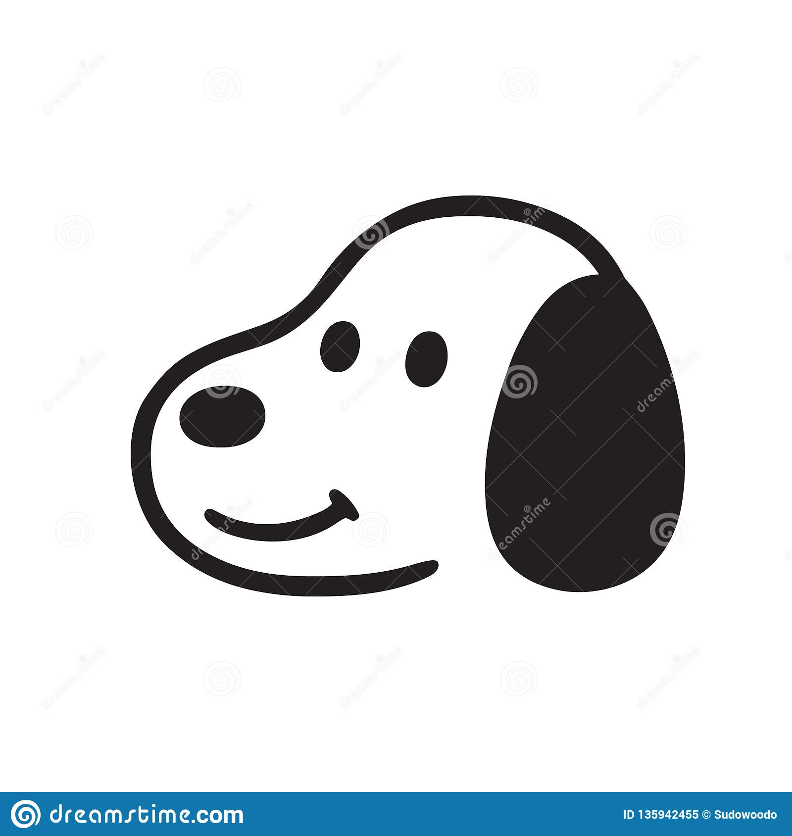 Simple Cartoon Dog Face Drawing Stock Vector Illustration Of