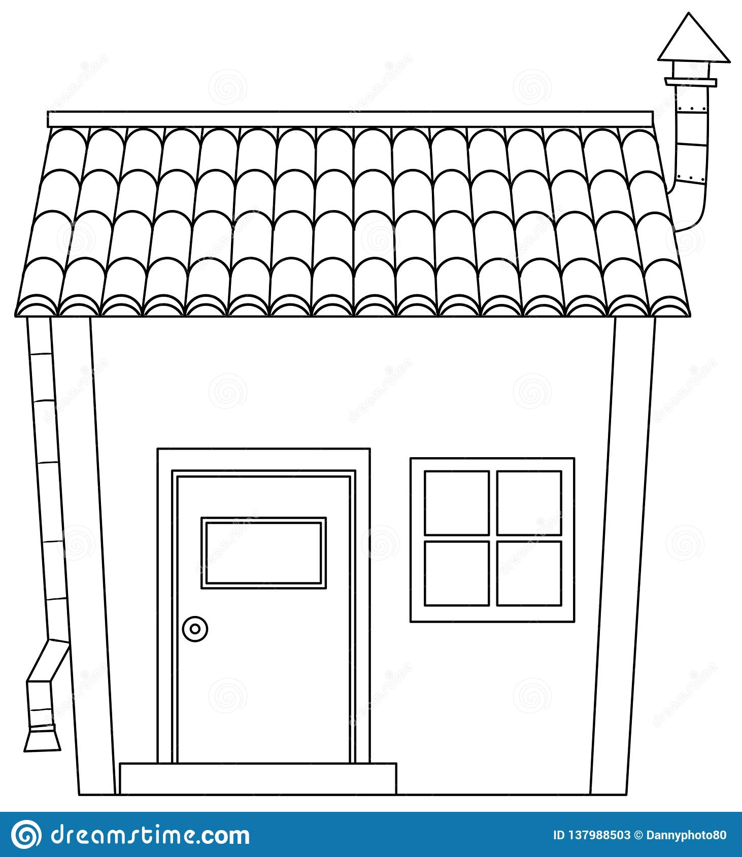 Simple Cartoon House Outline Stock Vector Illustration Of